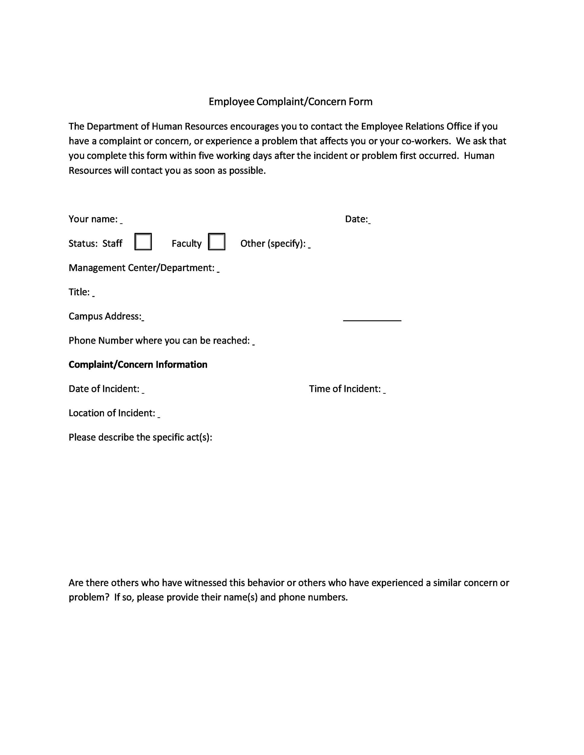 Free Employee write up form 09