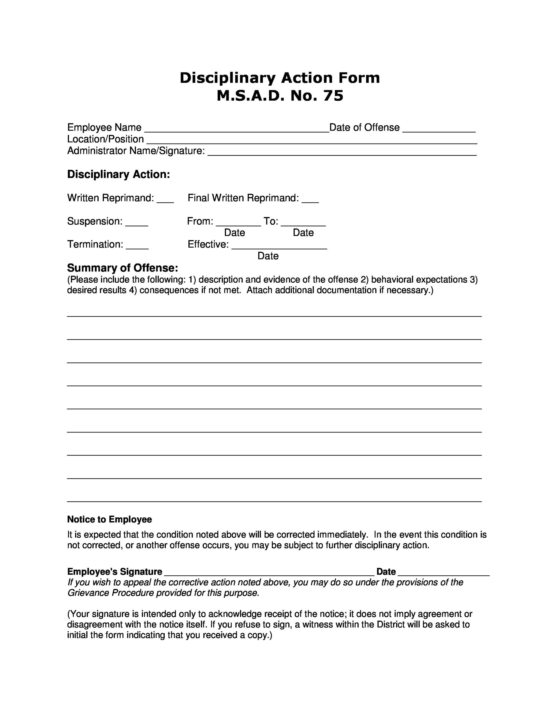 Free Employee write up form 15