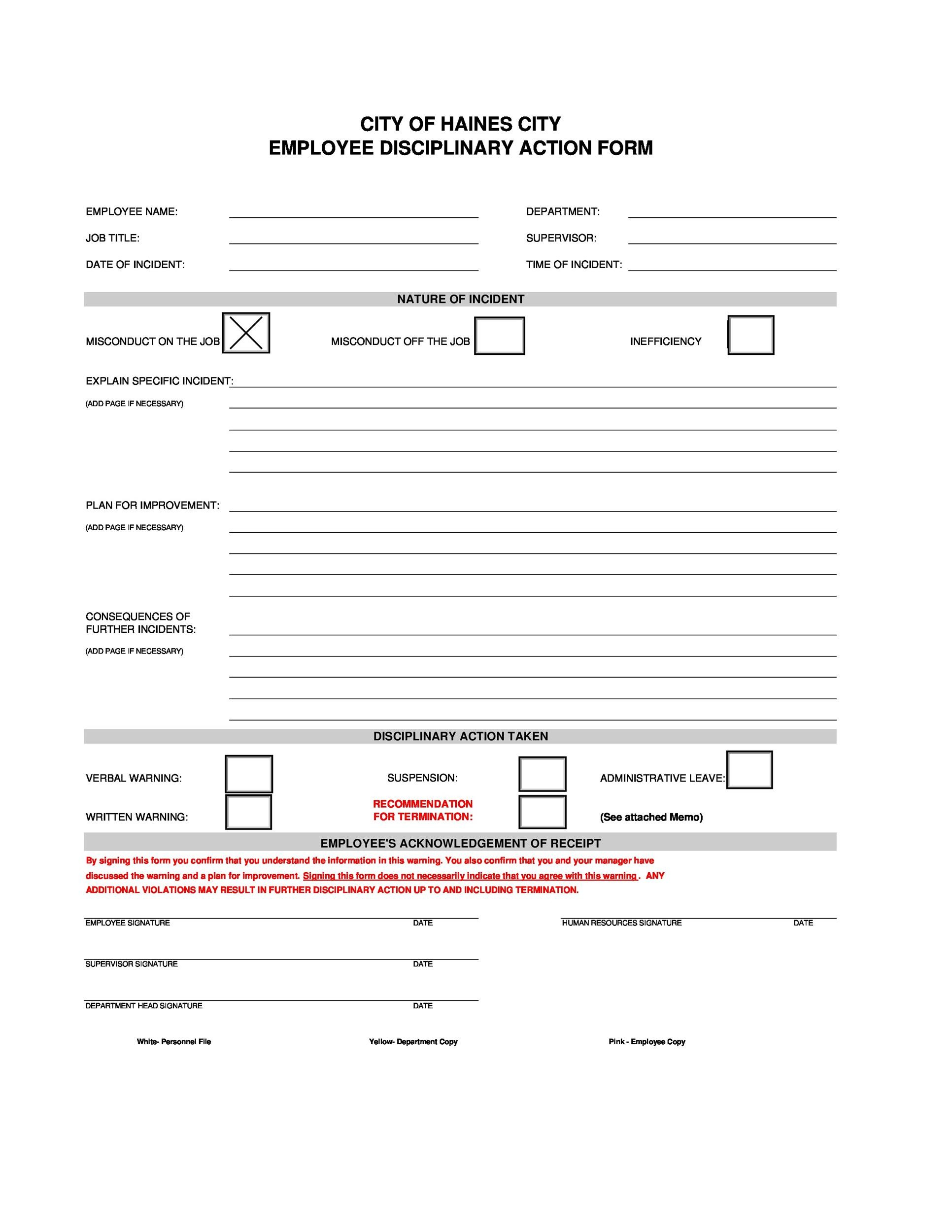 Printable Employee Write Up Form 19