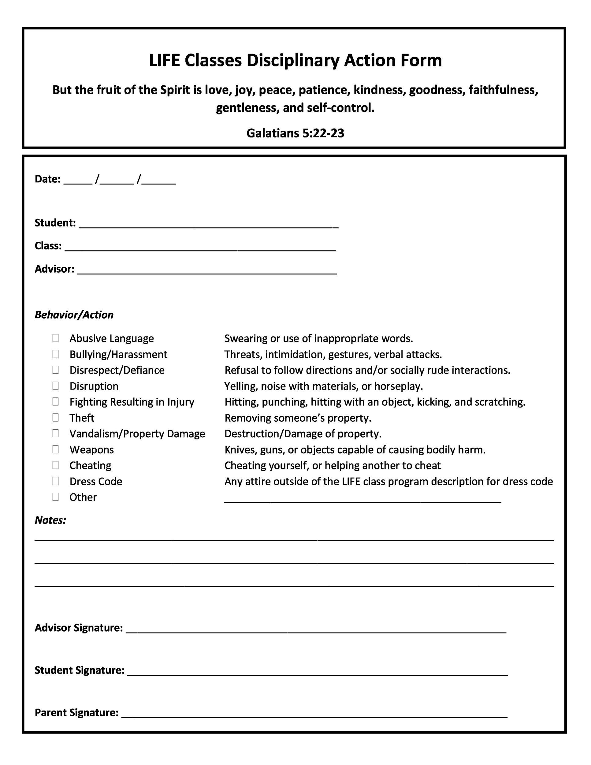 Printable Employee Write Up Form 20