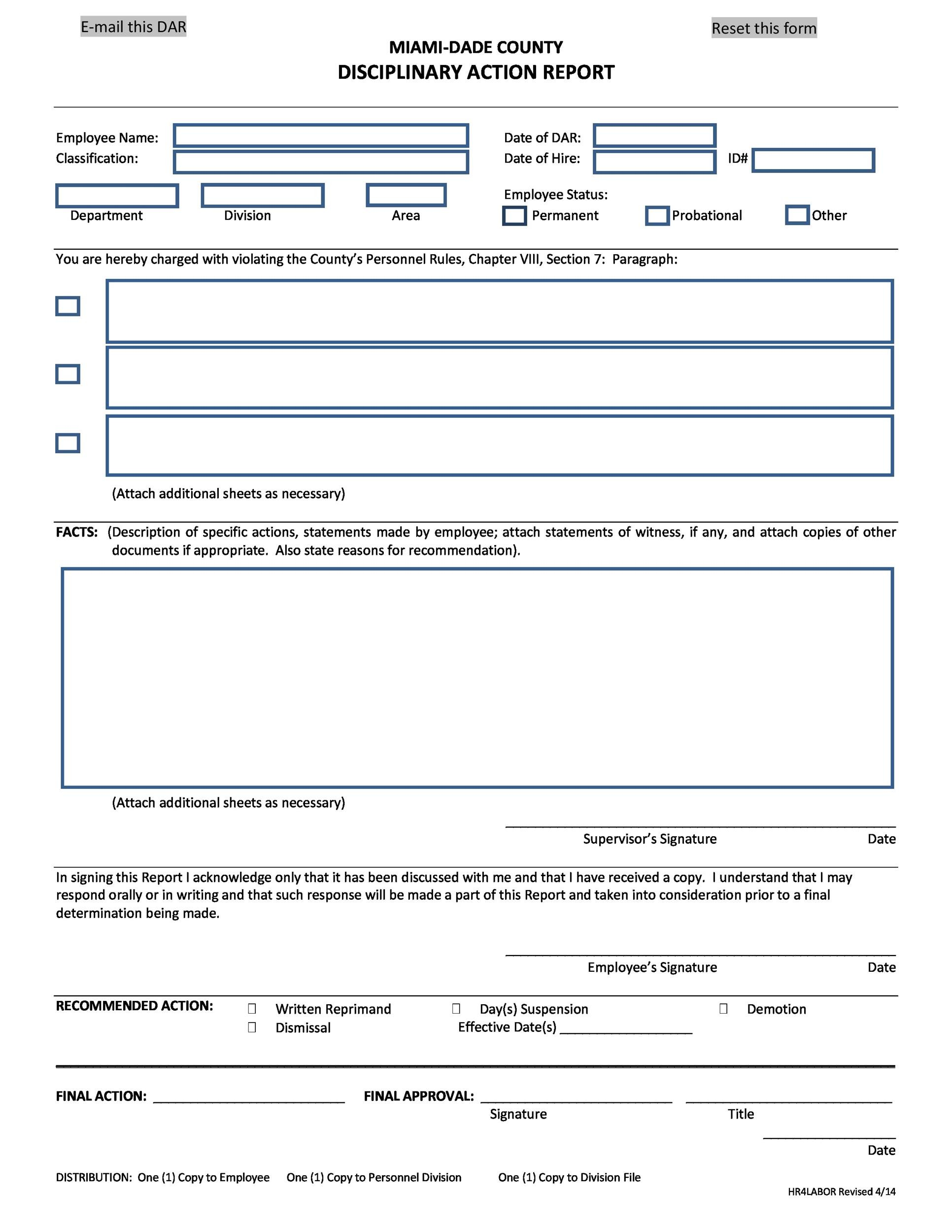 Free Employee write up form 25