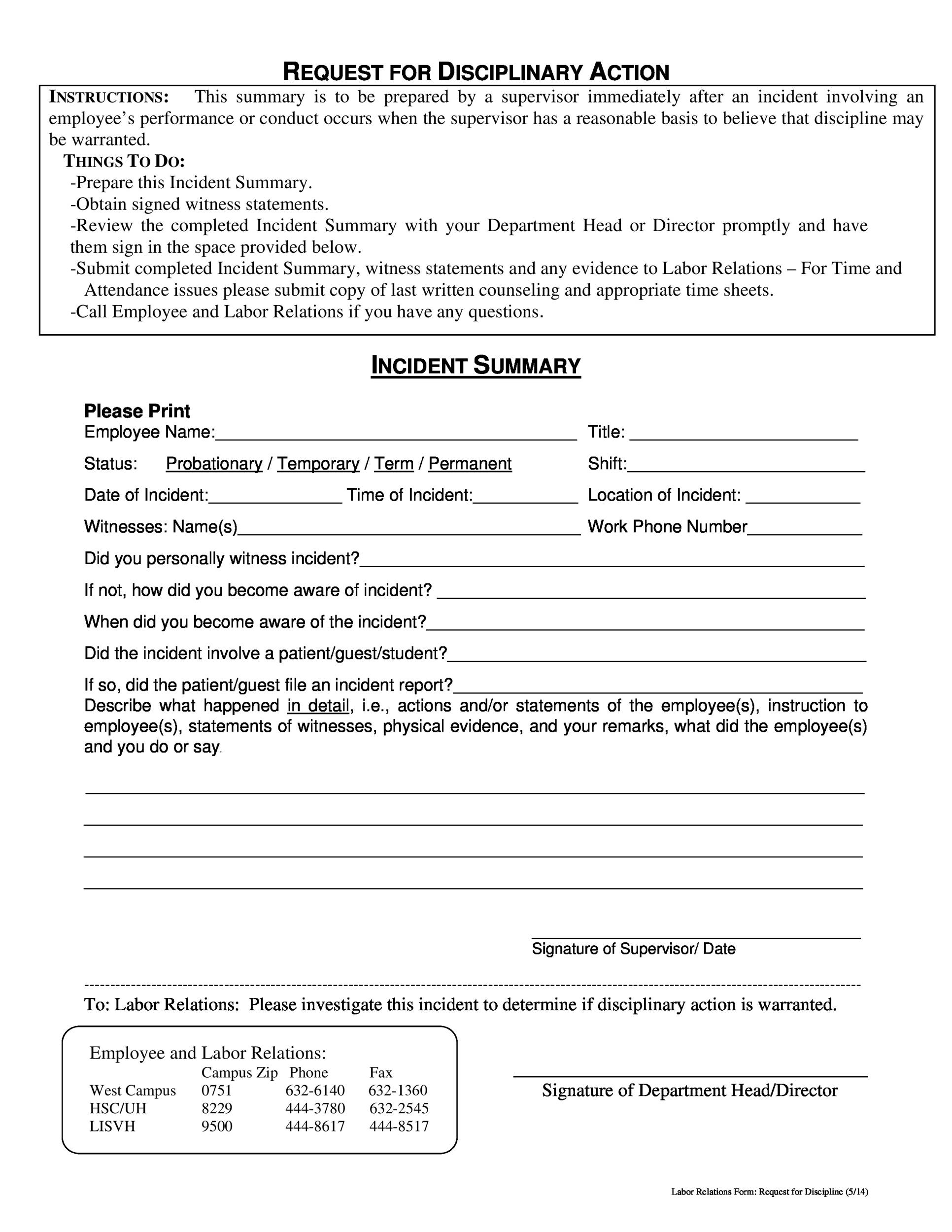 Free Employee write up form 26