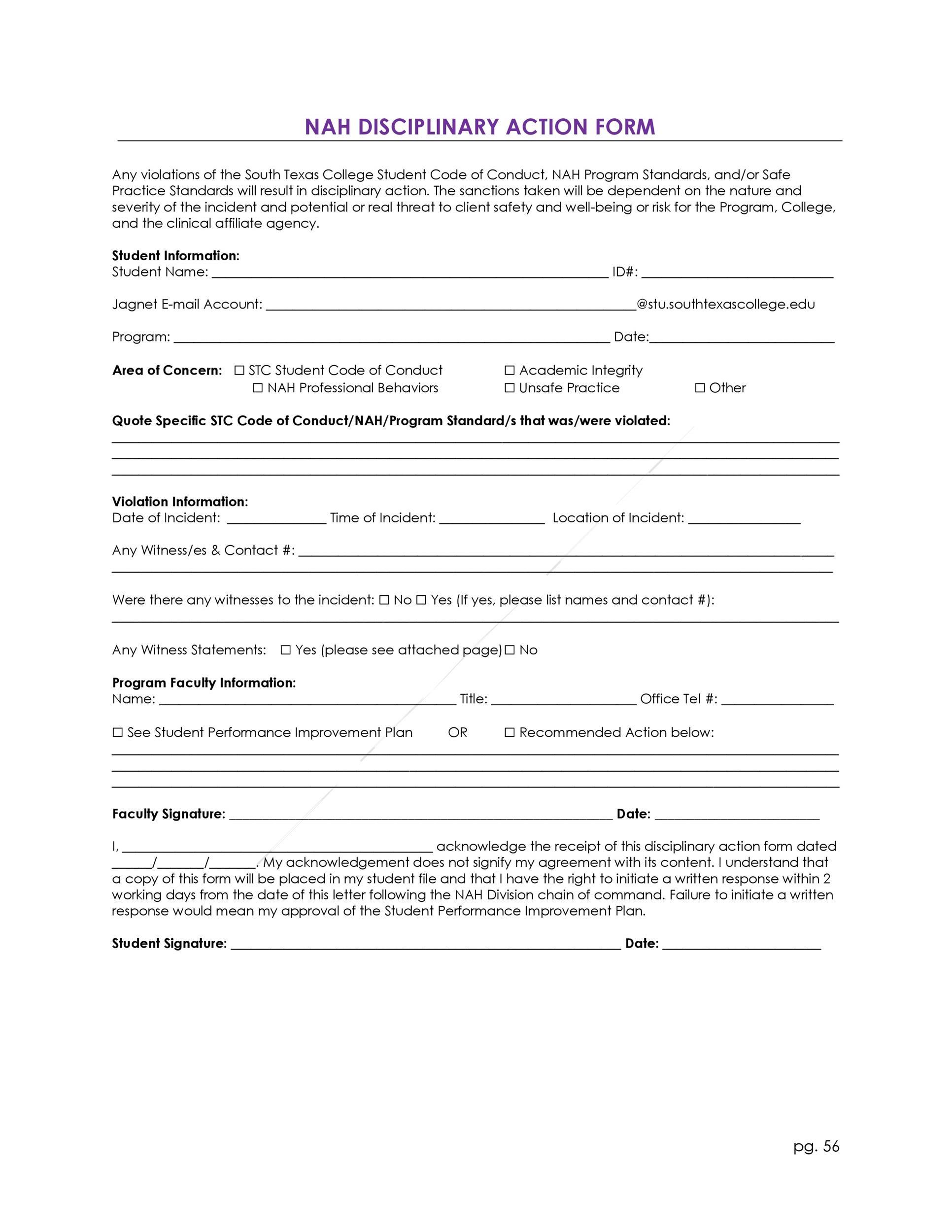 Free Employee write up form 27