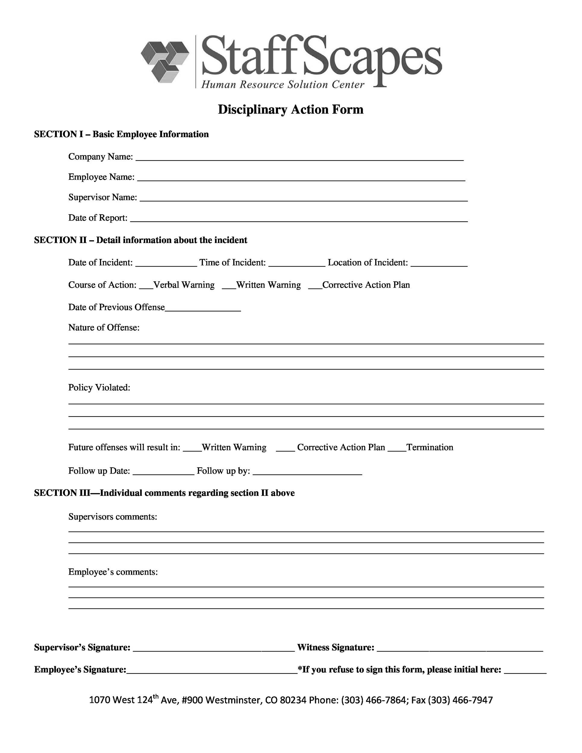 Free Employee write up form 28