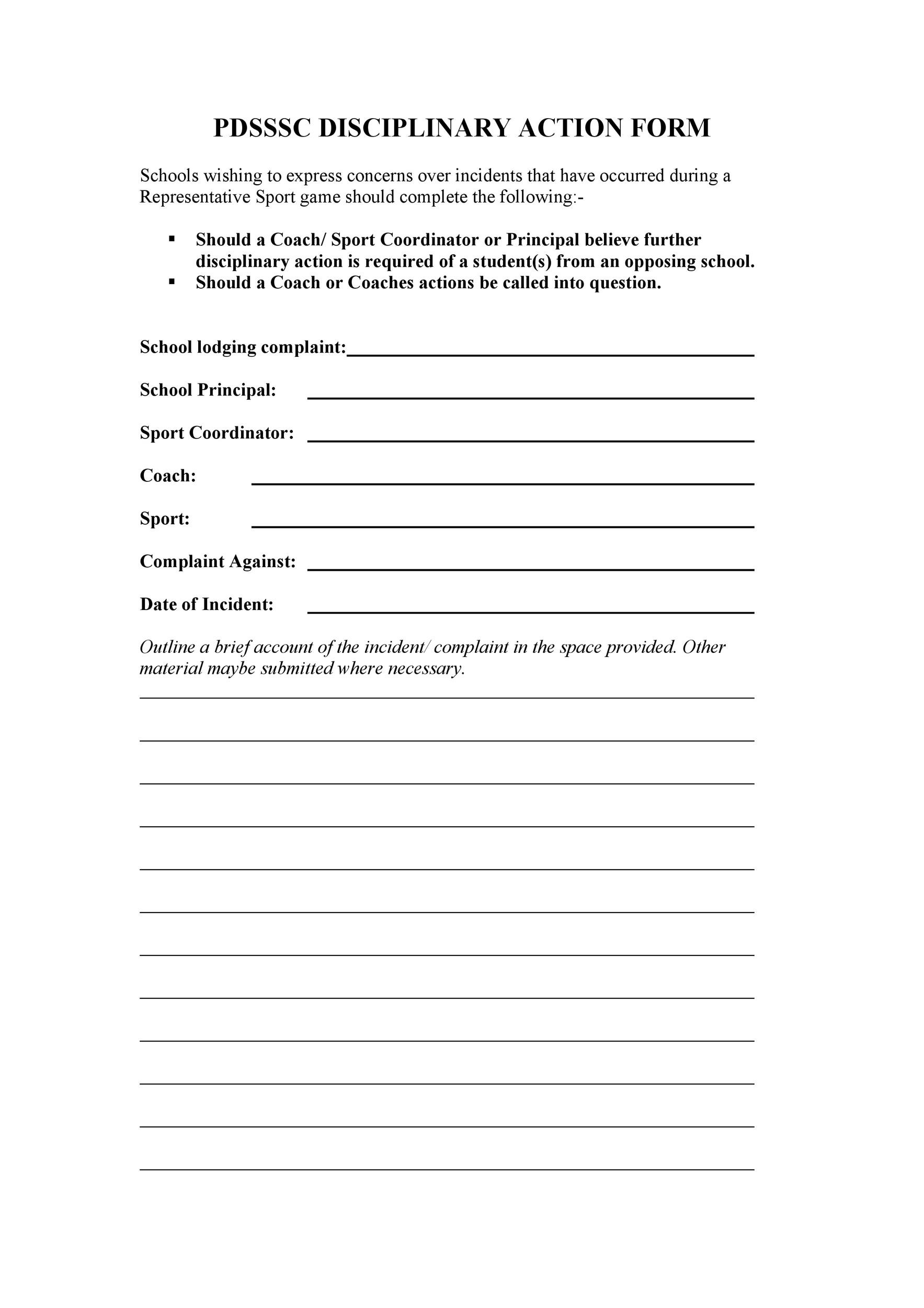Free Employee write up form 34