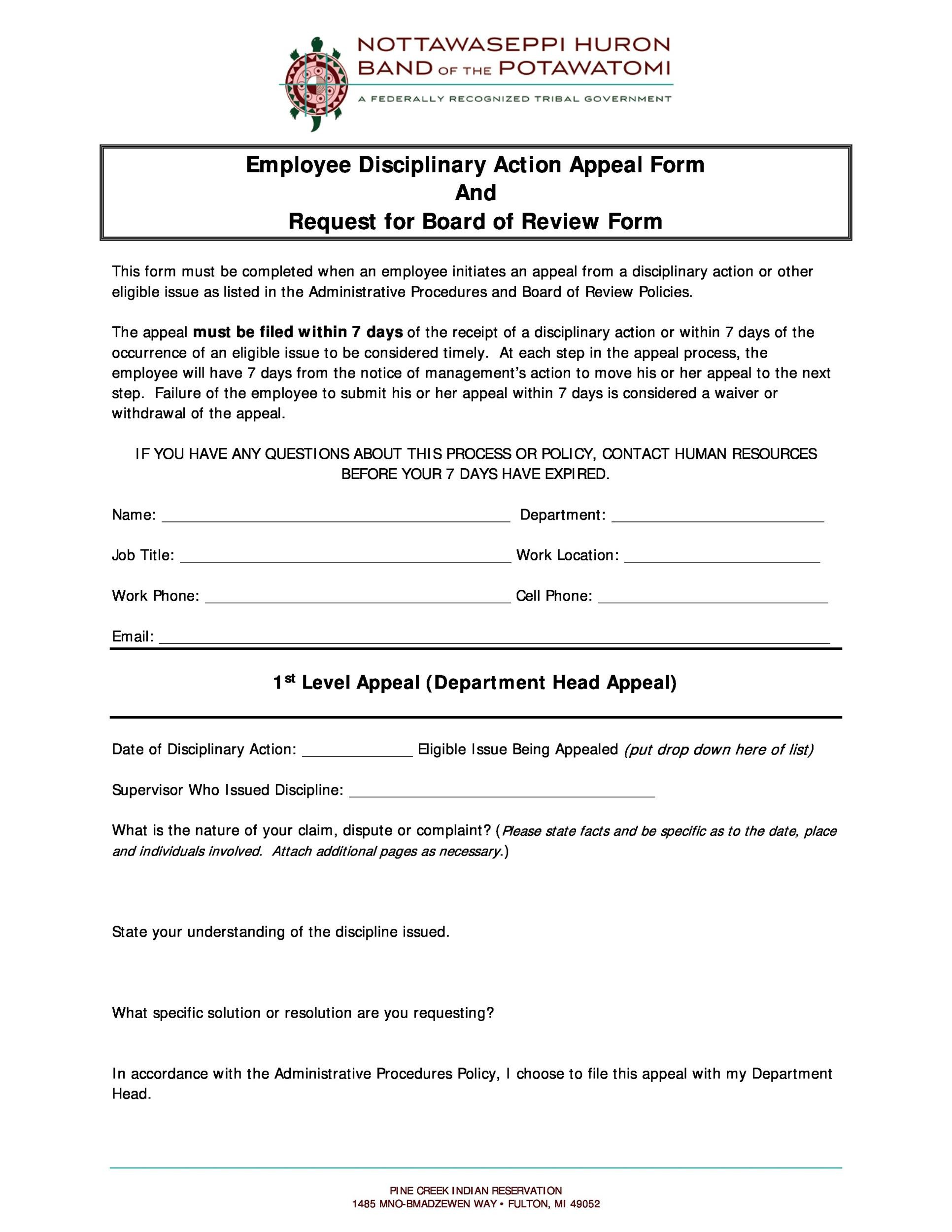 Free Employee write up form 40
