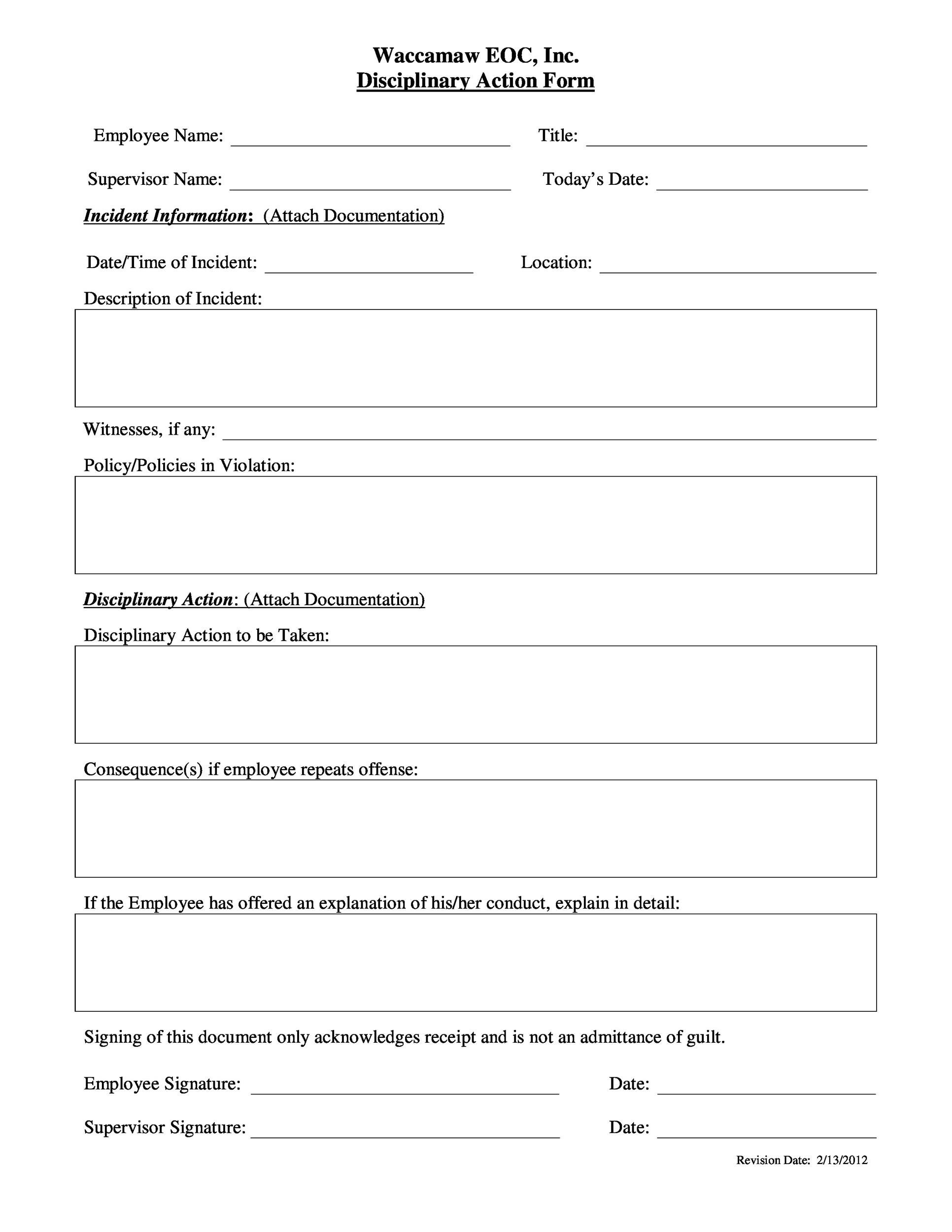 Free Employee write up form 41