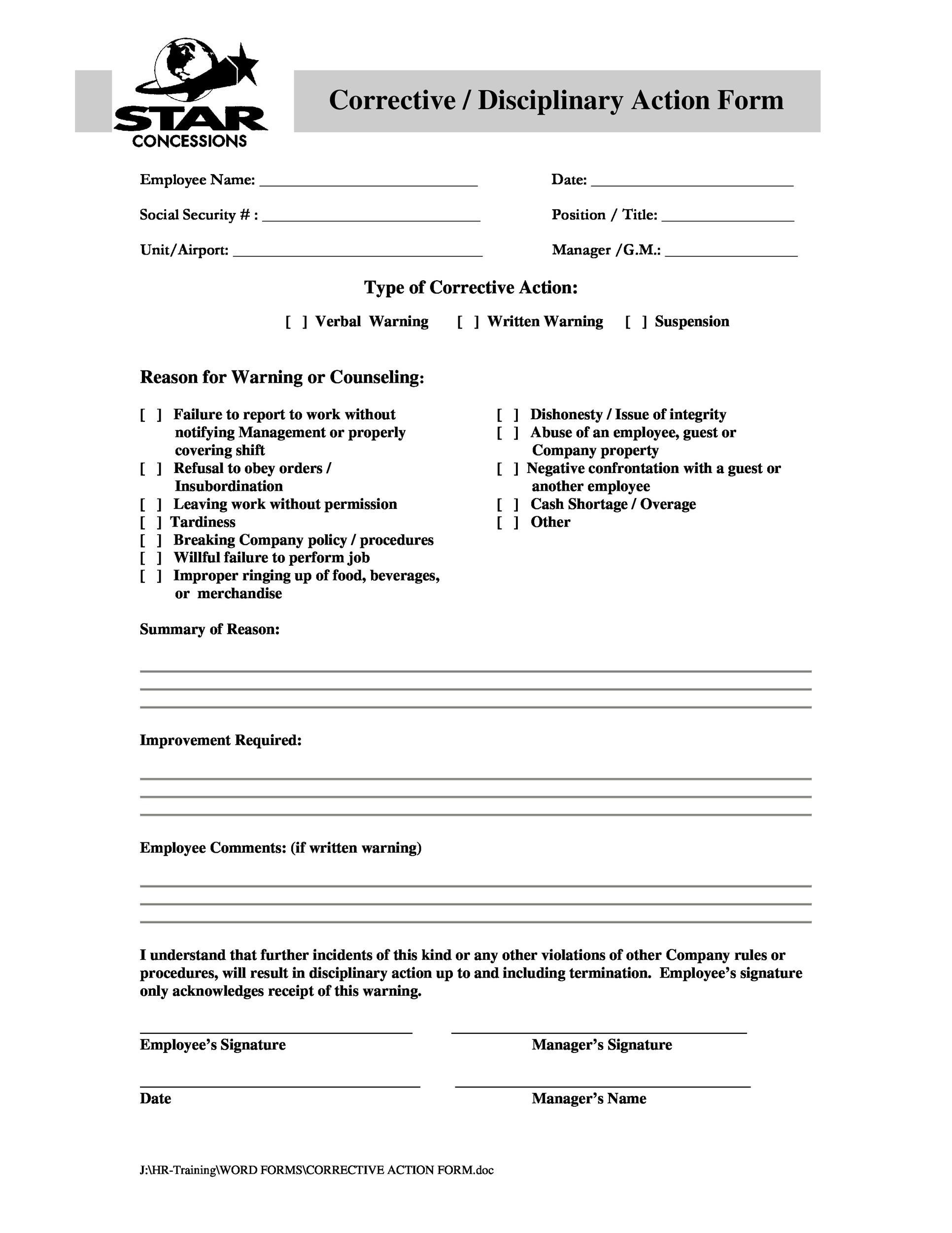 Free Employee write up form 43
