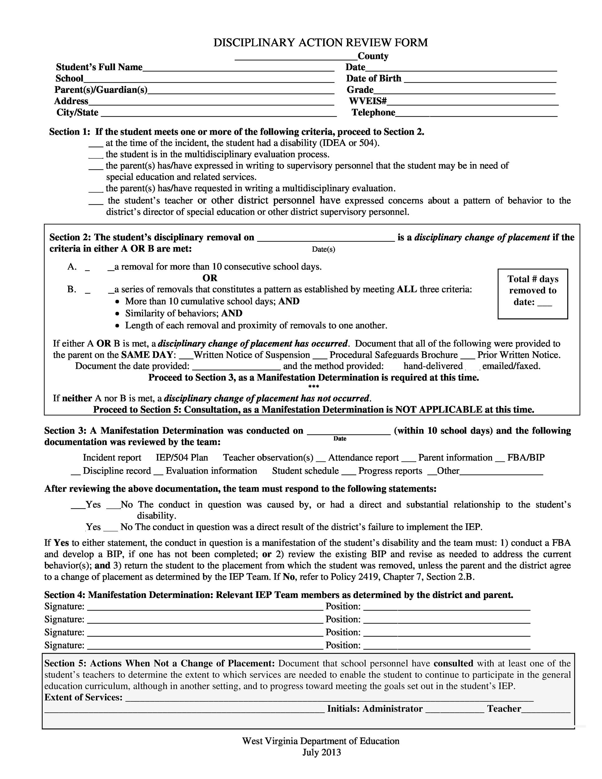 Free Employee write up form 45