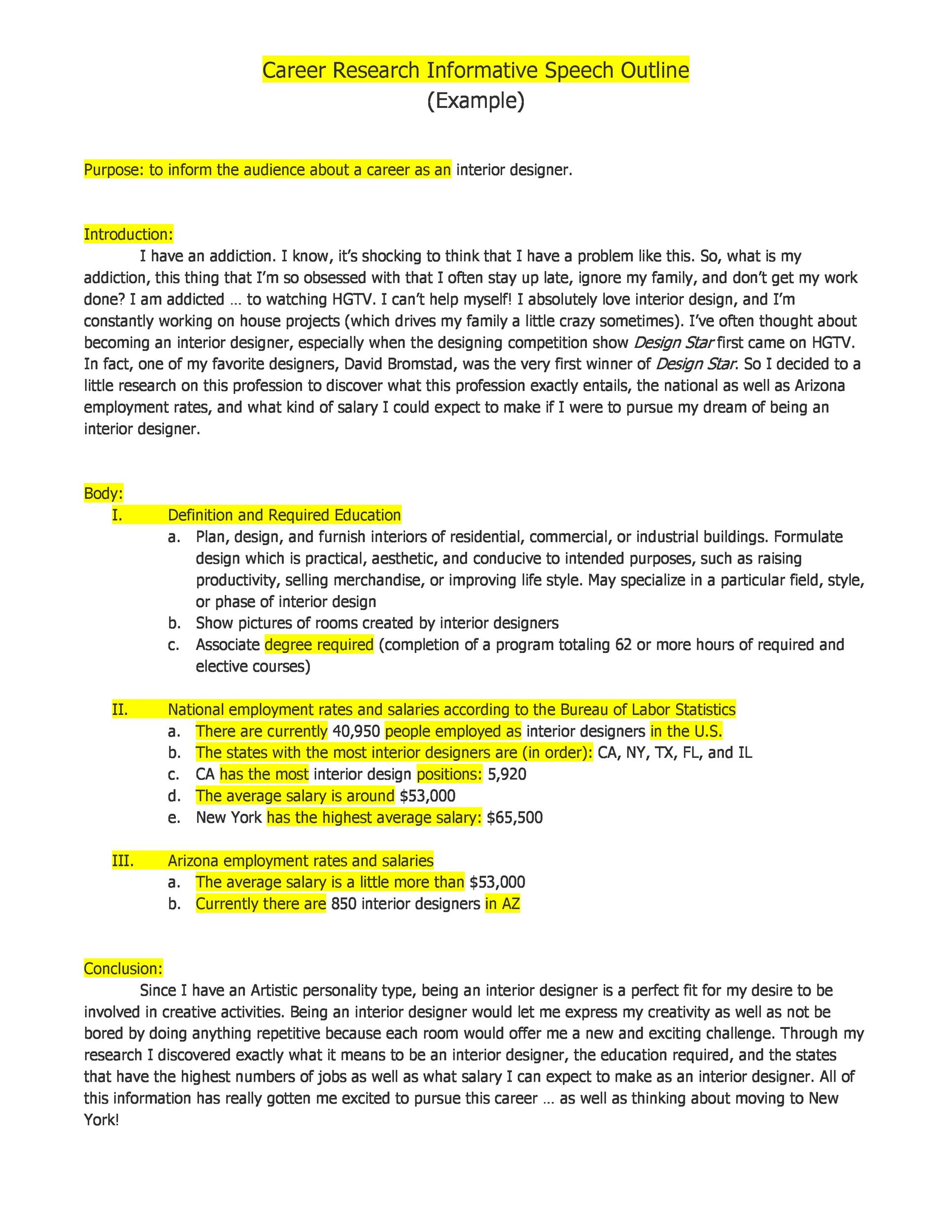 Free Informative Speech Outline 14