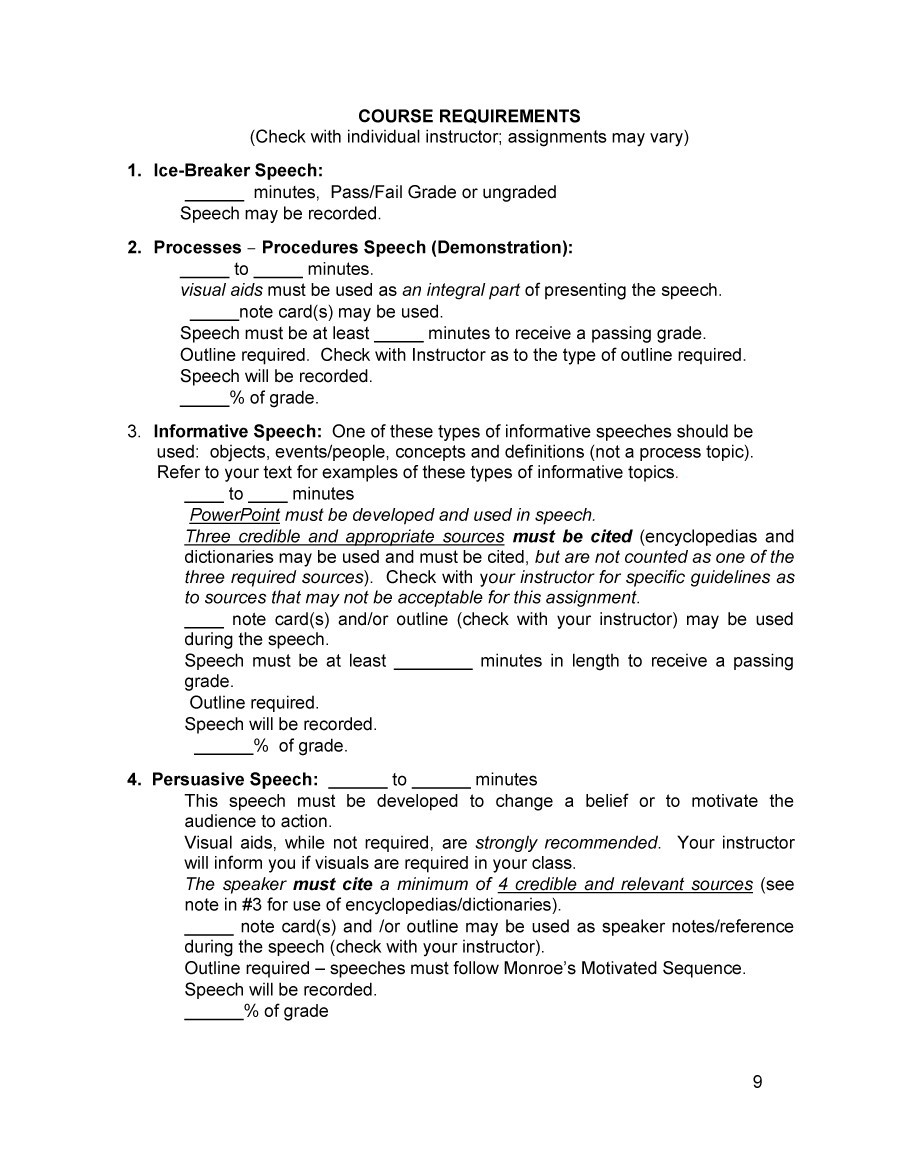 informative speech outline templates examples informative speech outline 15