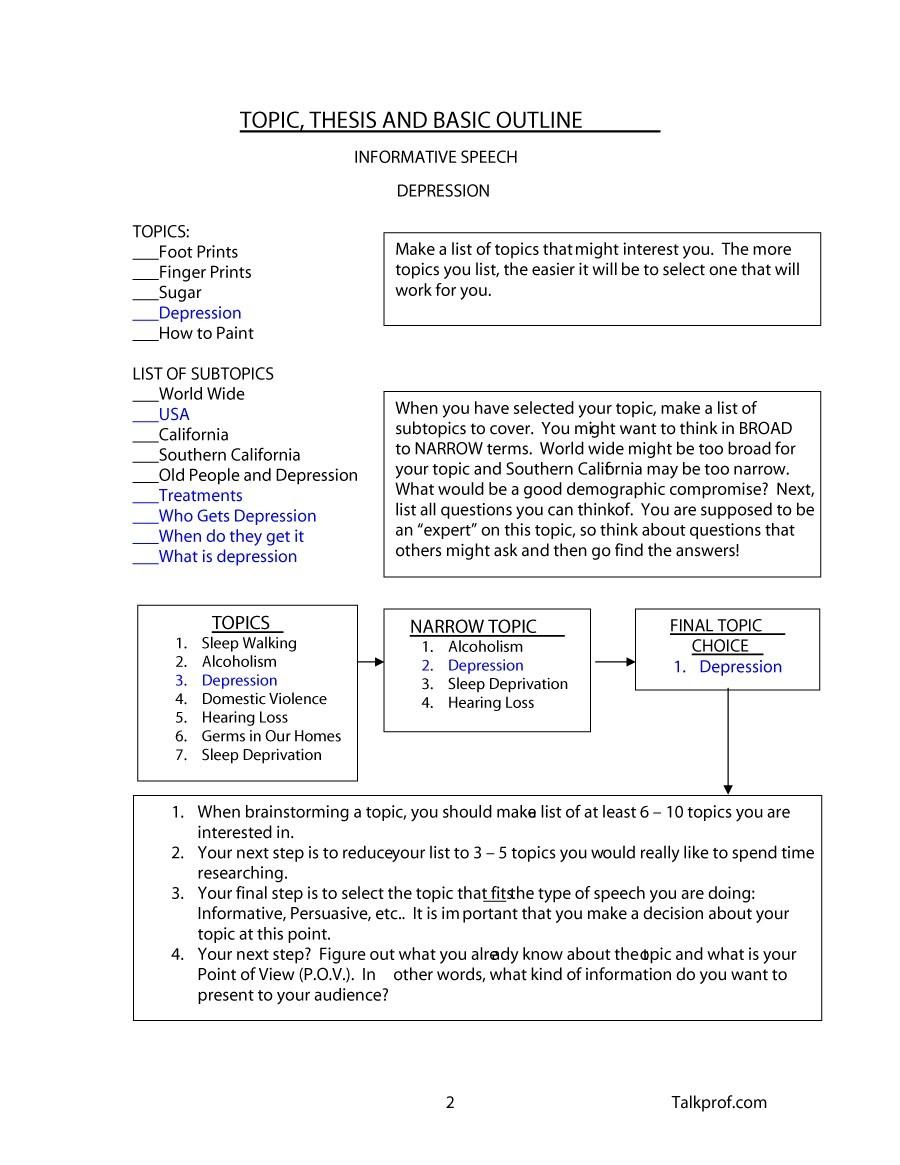 Free Informative Speech Outline 16