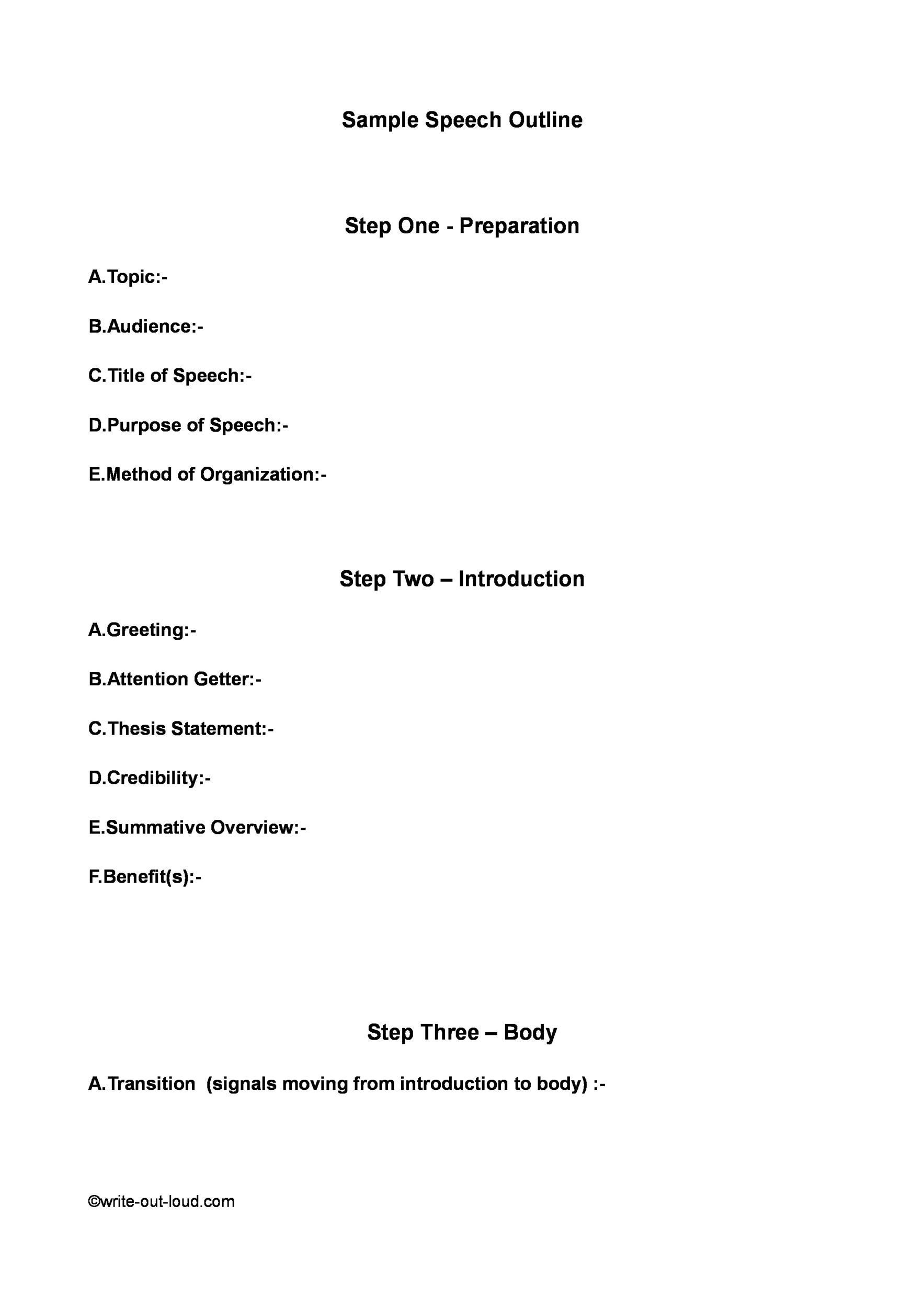 Free Informative Speech Outline 22