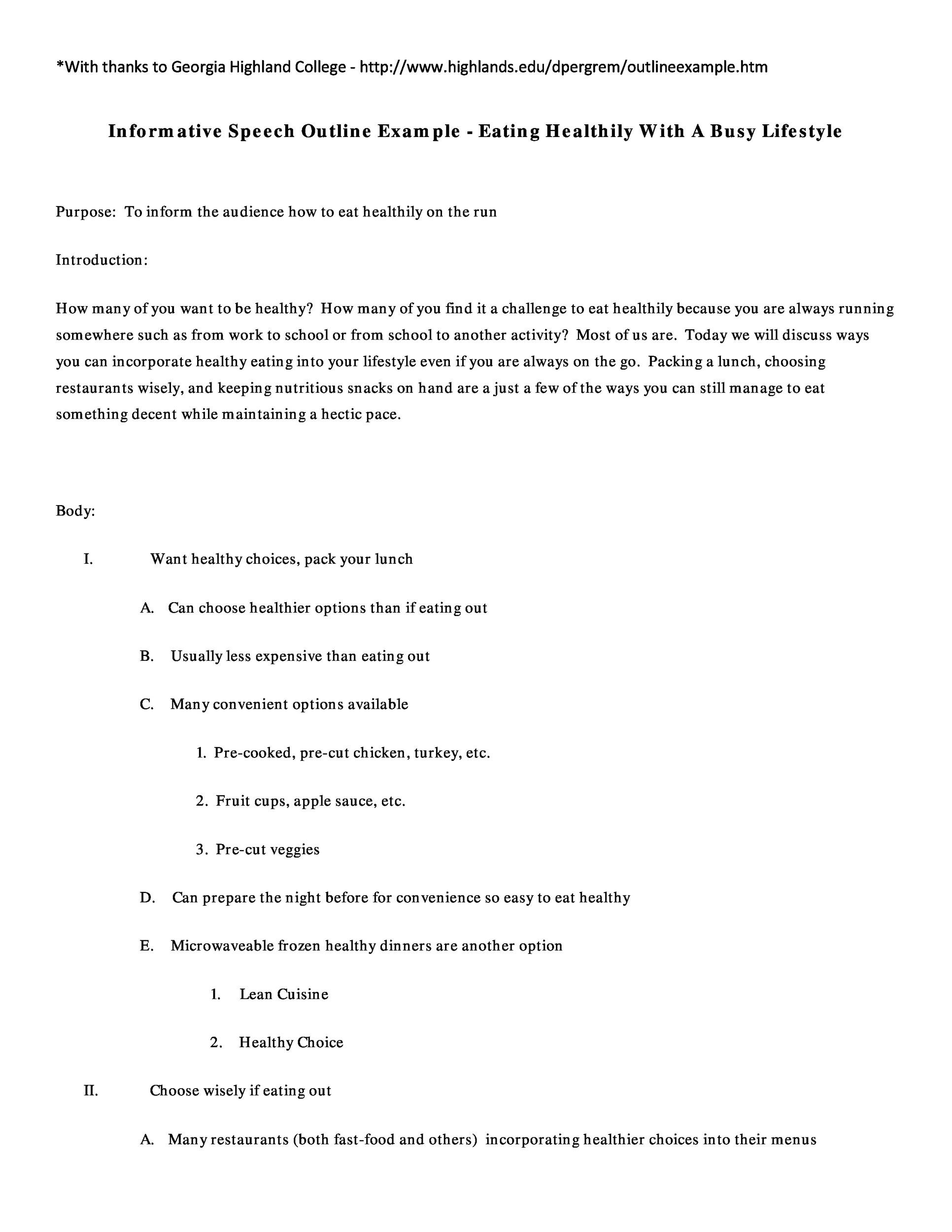 Free Informative Speech Outline 31
