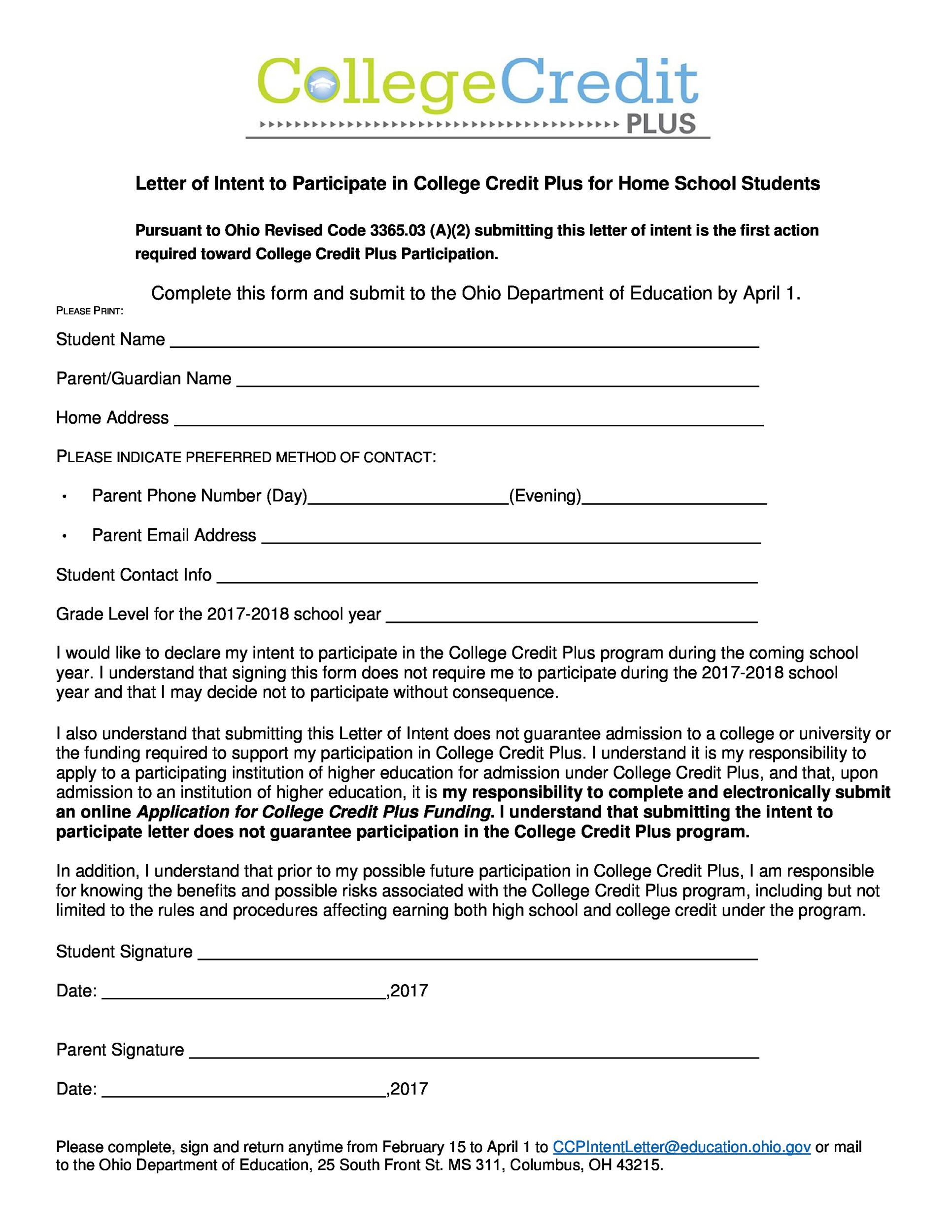 letter of intent templates