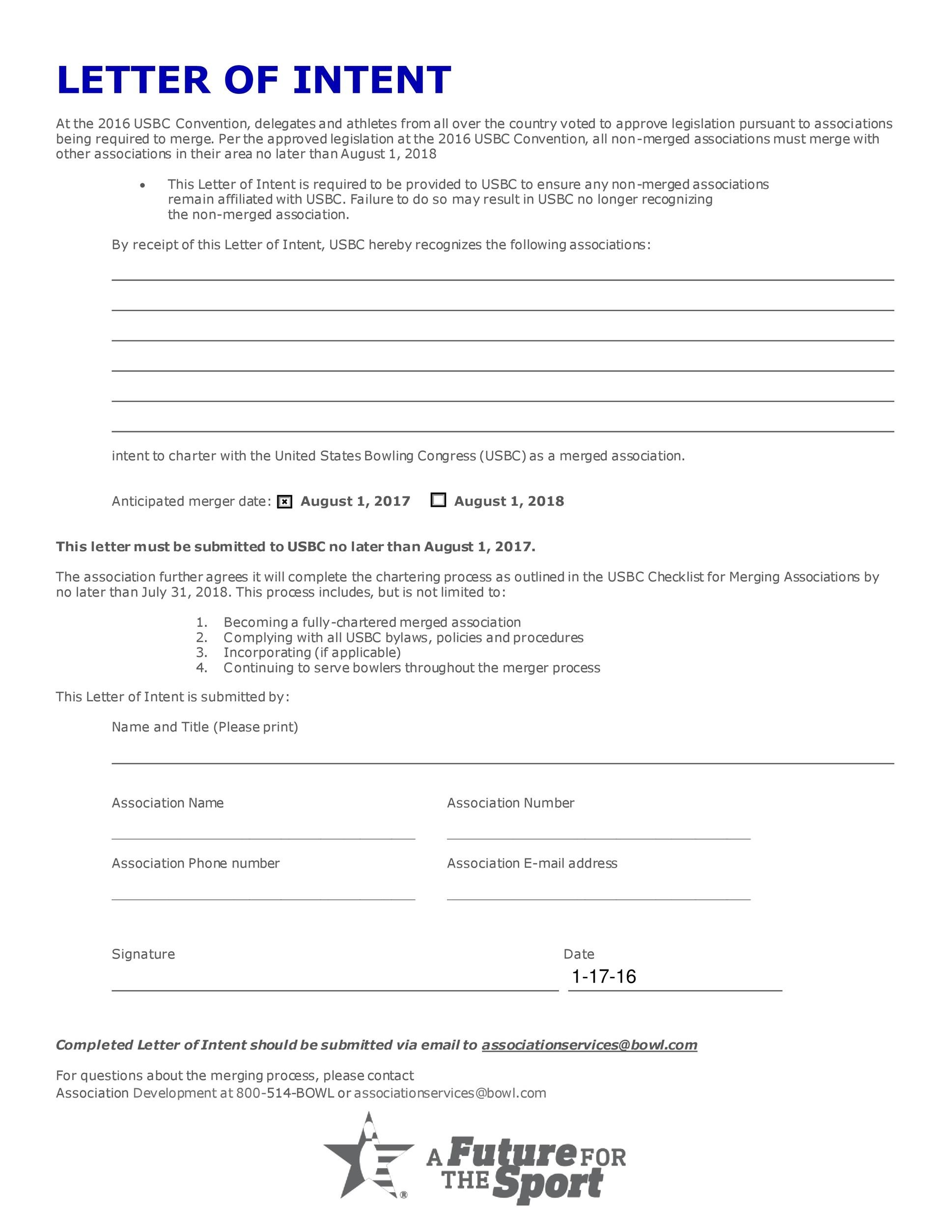Printable Letter Of Intent 04  Letter Of Intent Sample Business