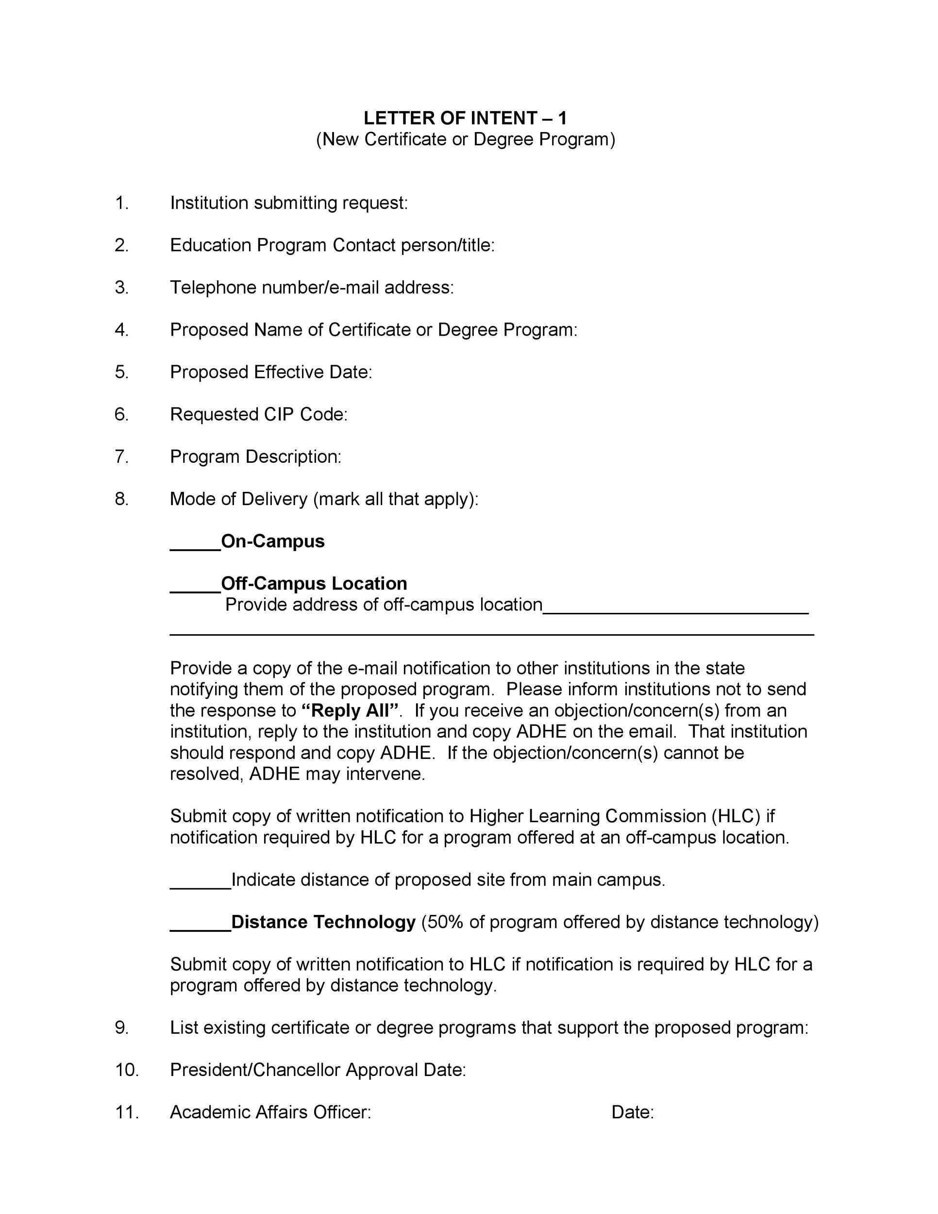 Printable Letter Of Intent 06