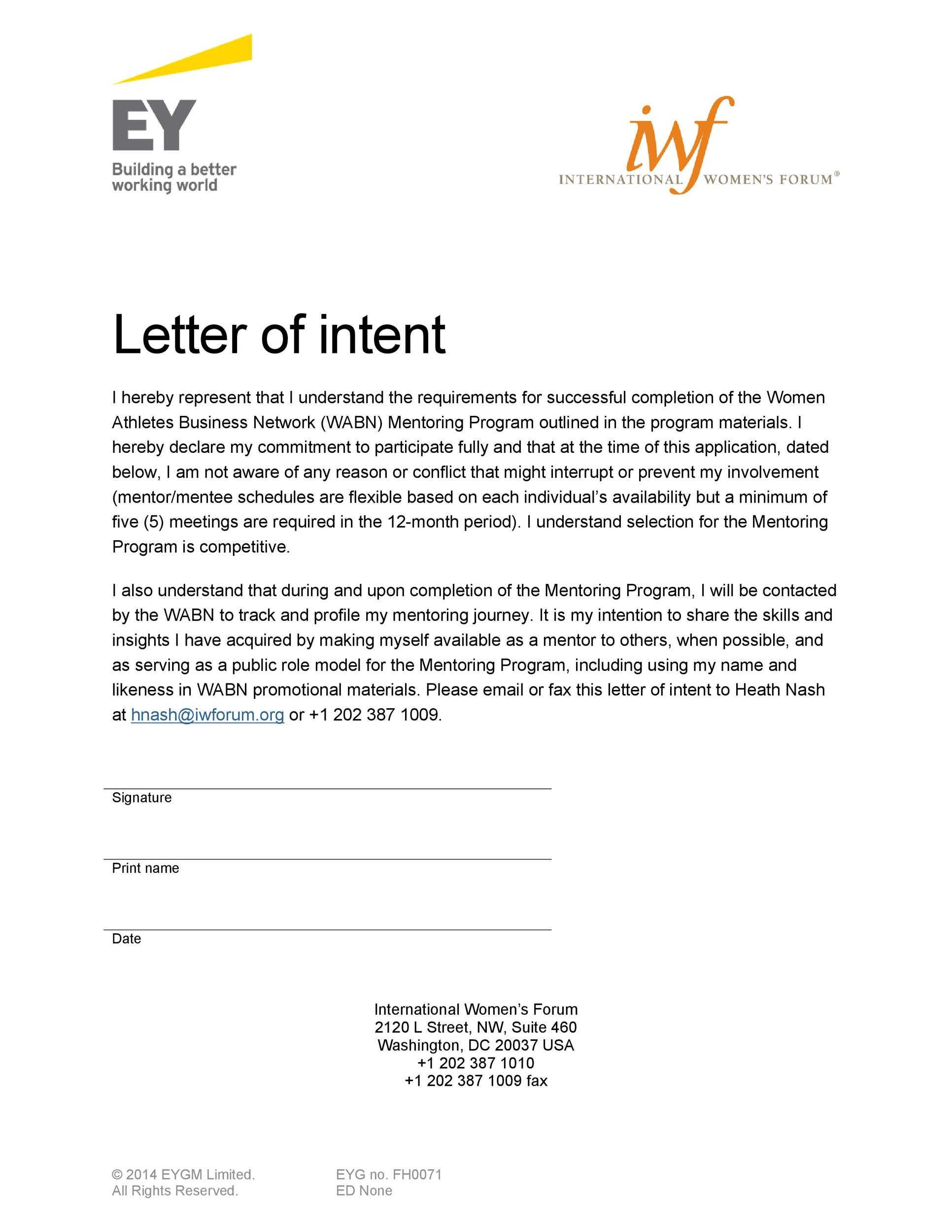 Letter Of Intent Sponsorship Sample