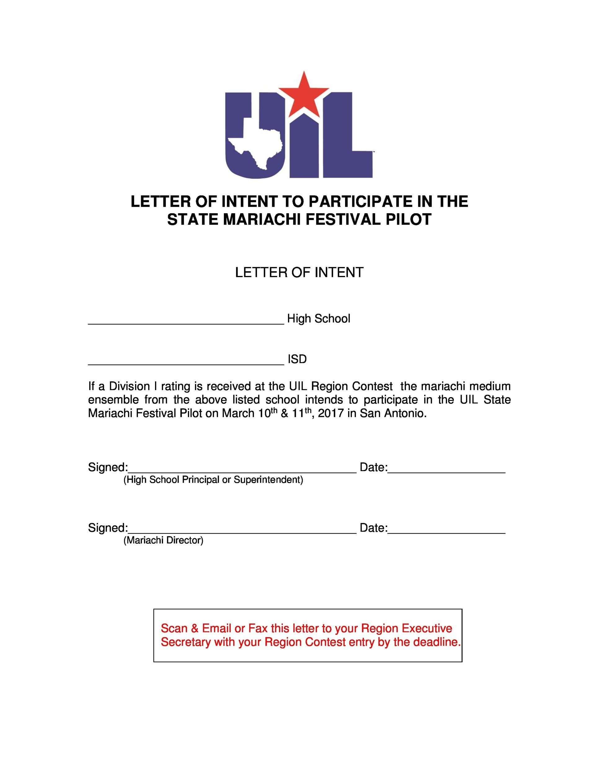 Free letter of intent 15