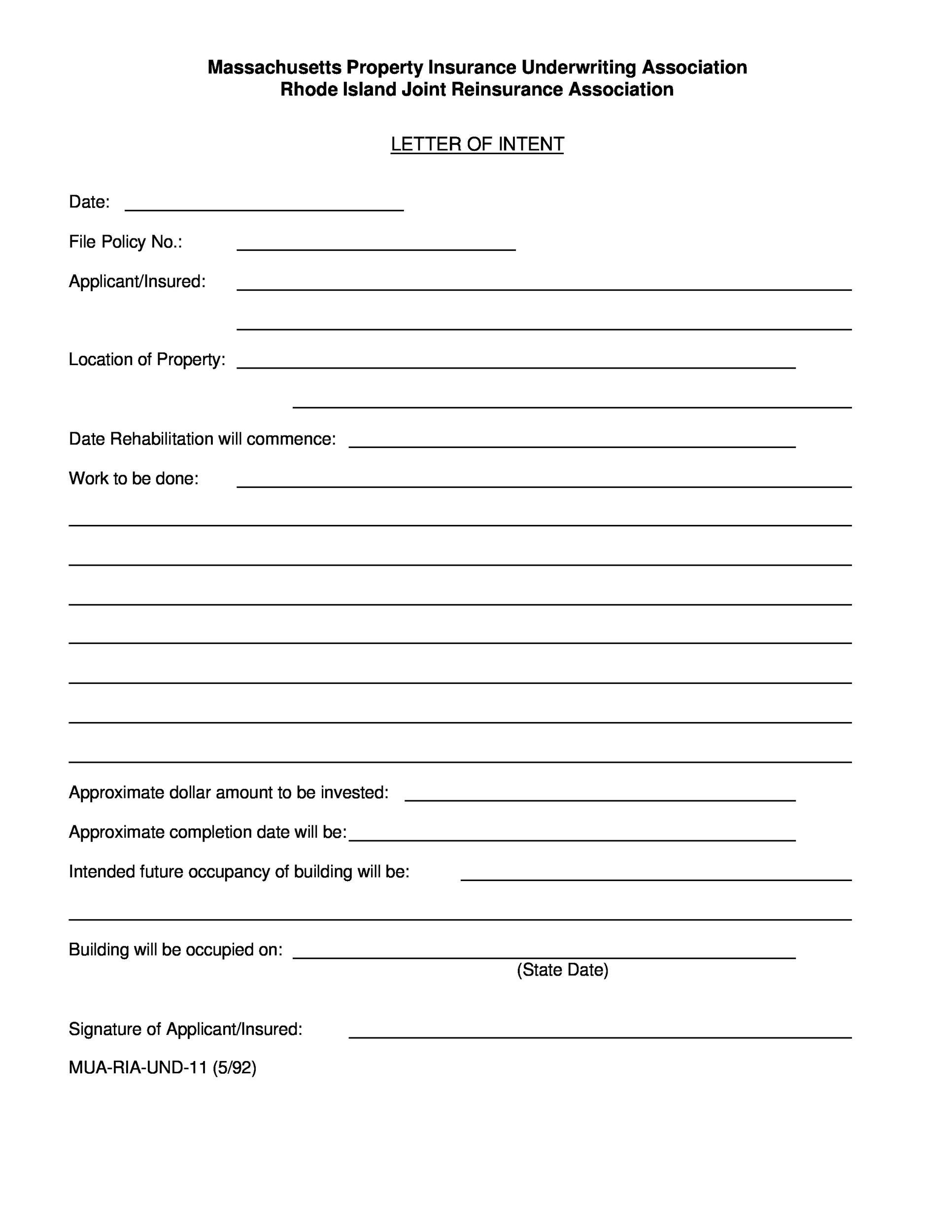 Free letter of intent 18