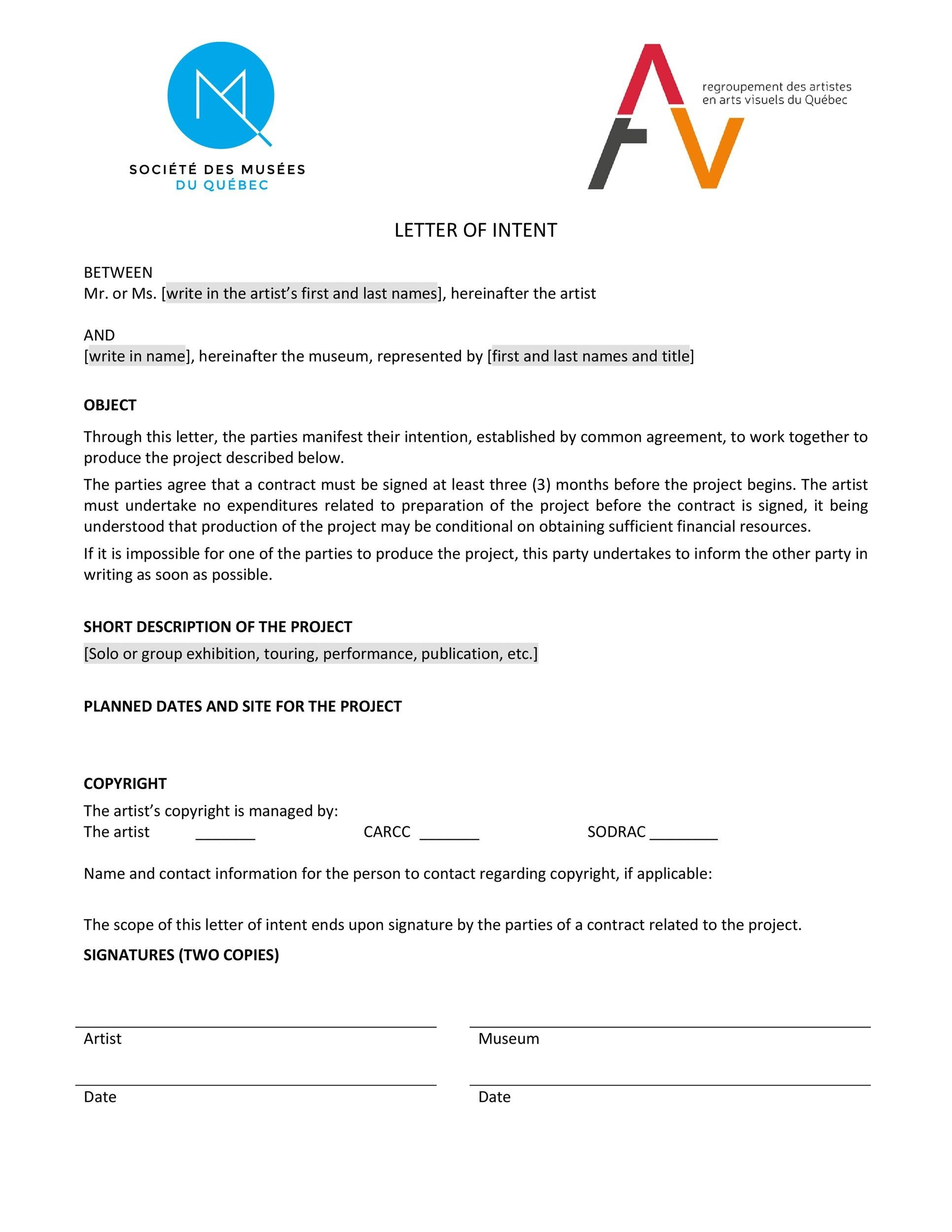 letter of intent templates samples for job school business letter of intent 26
