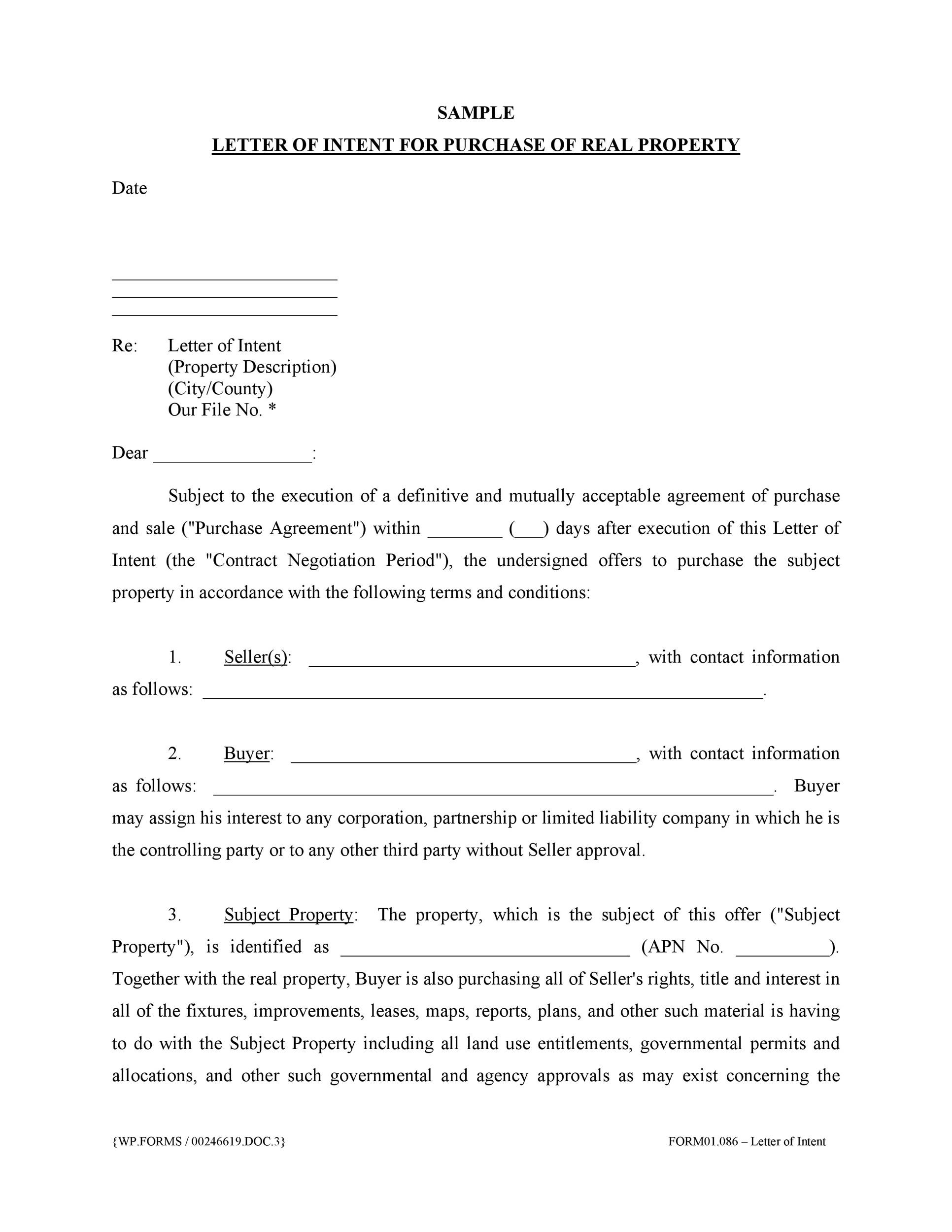 doc 400518 sample letter of intent to purchase a