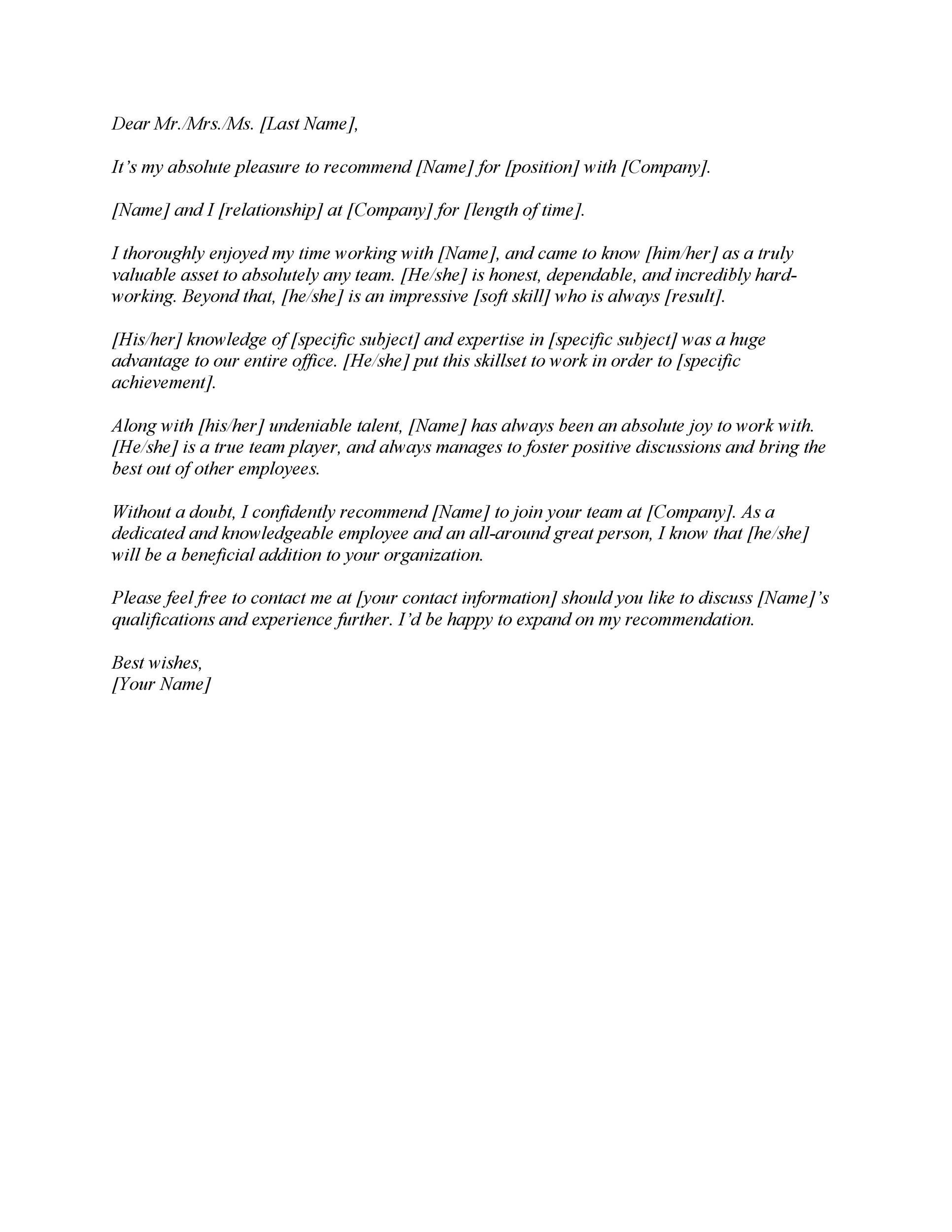 FREE Letter Of Recommendation Templates Samples - Sample letter of recommendation template free