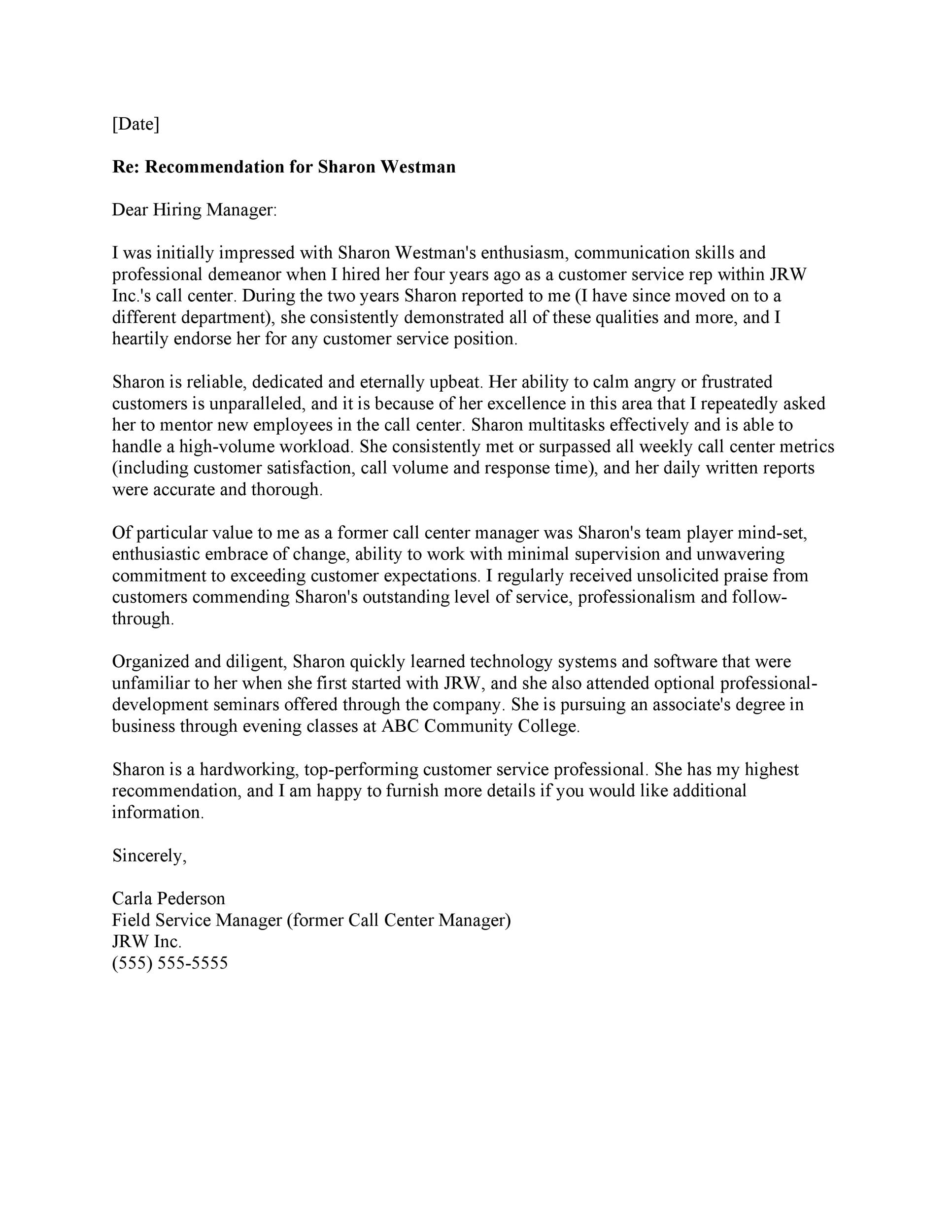 letter of recommendation template free