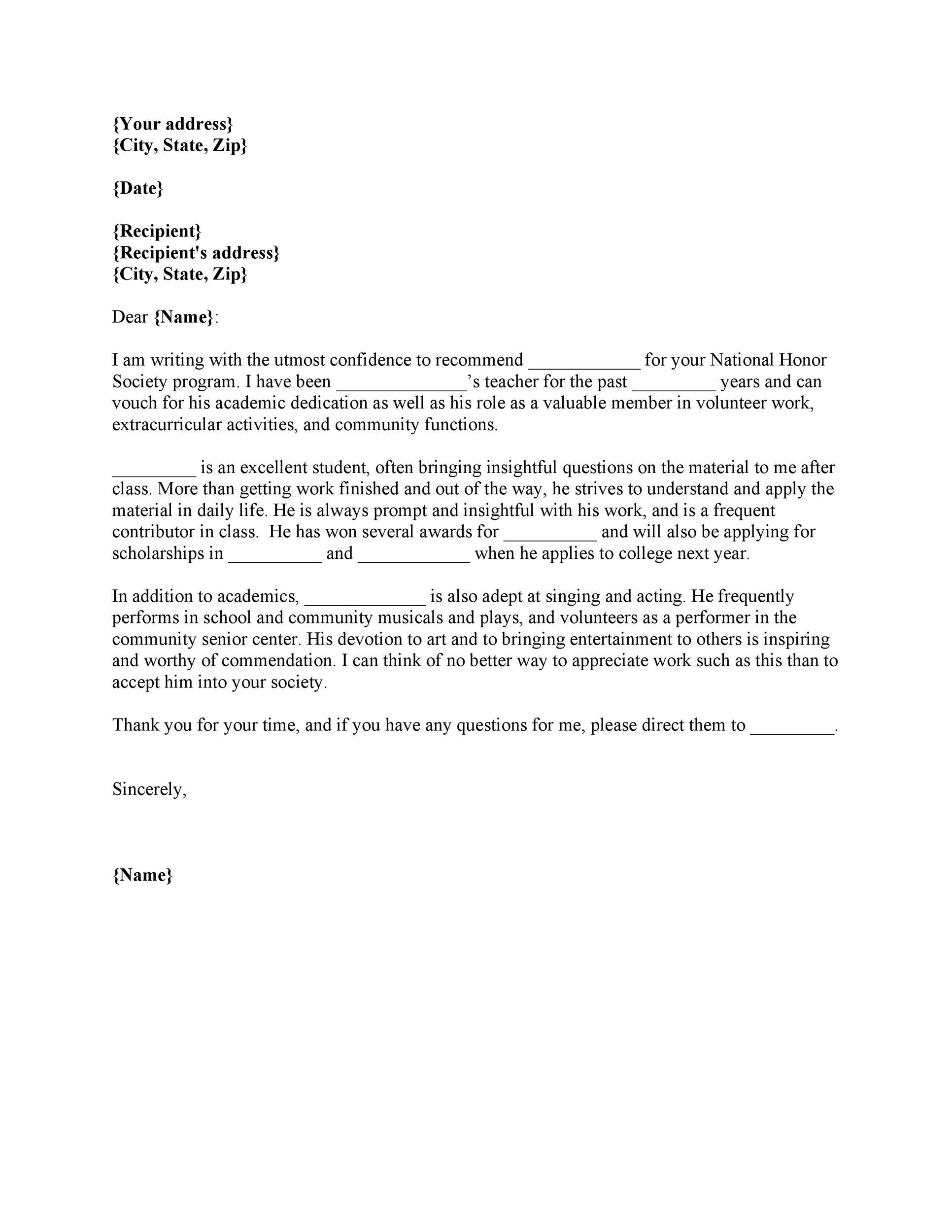 Letter Of Recommendation Address from templatelab.com