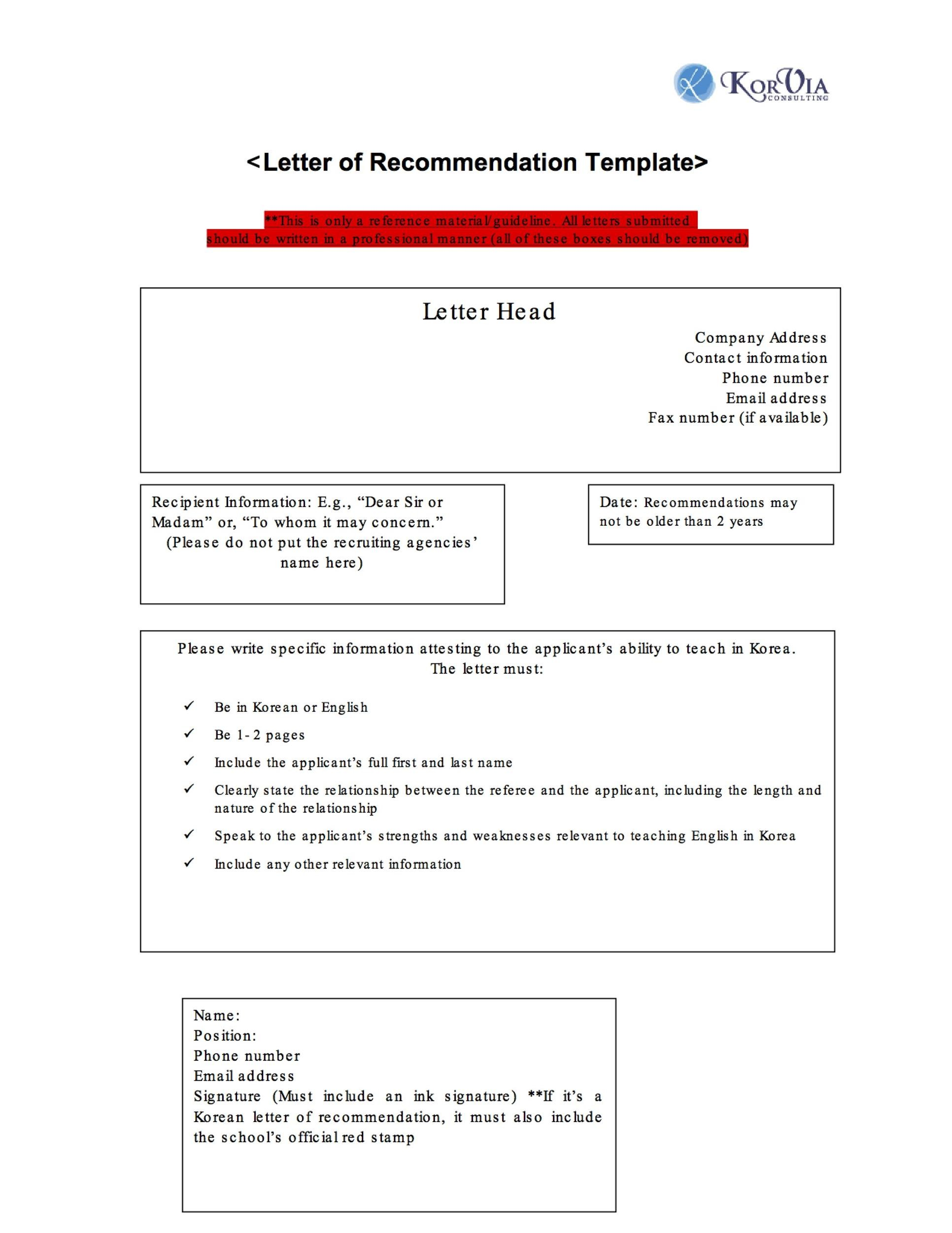 letter of reccomendation templates