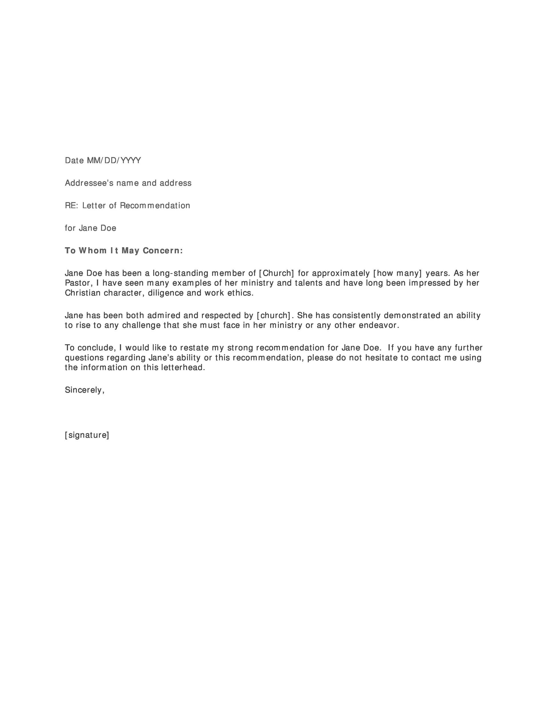 letter of recommendation templates samples letter of recommendation 12