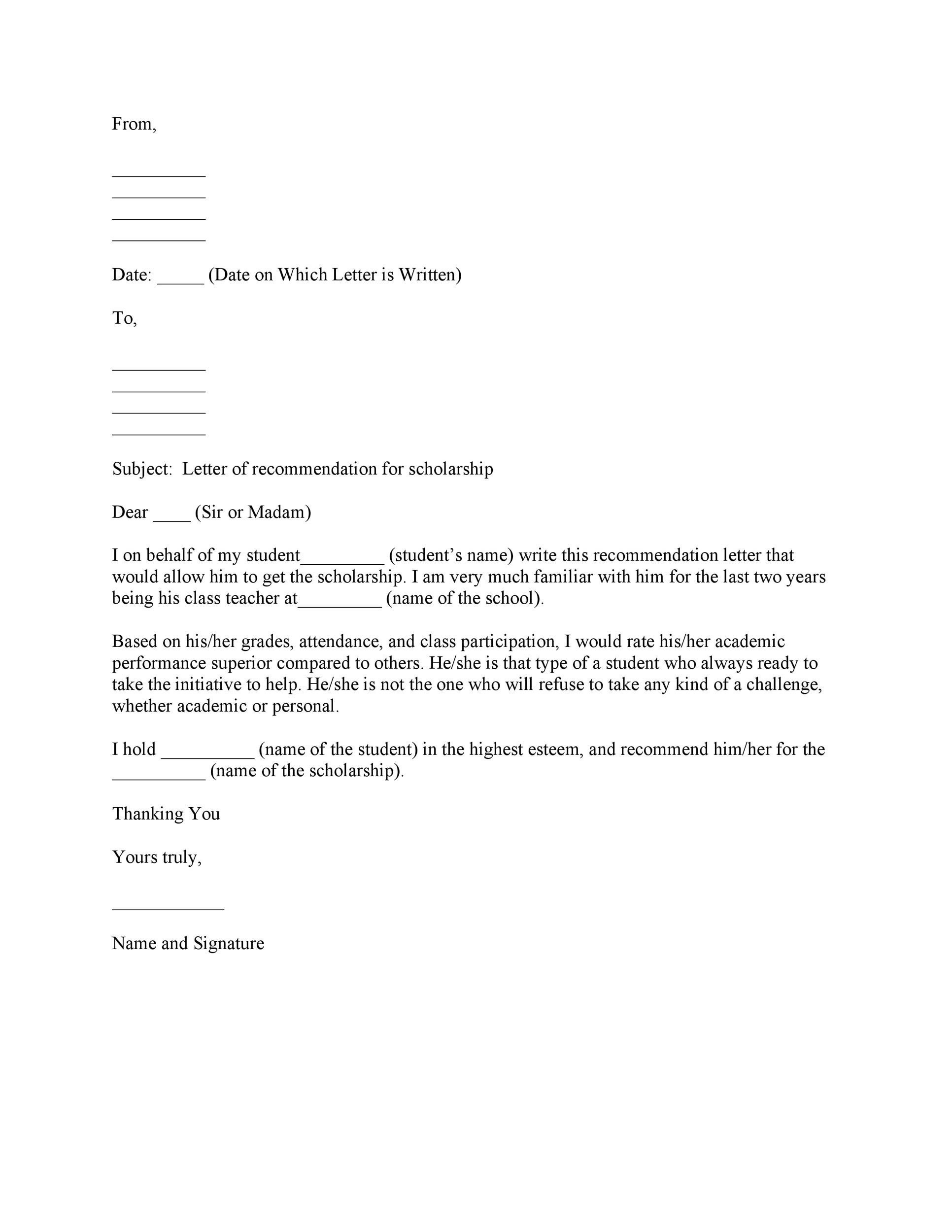 Free Letter of recommendation 13