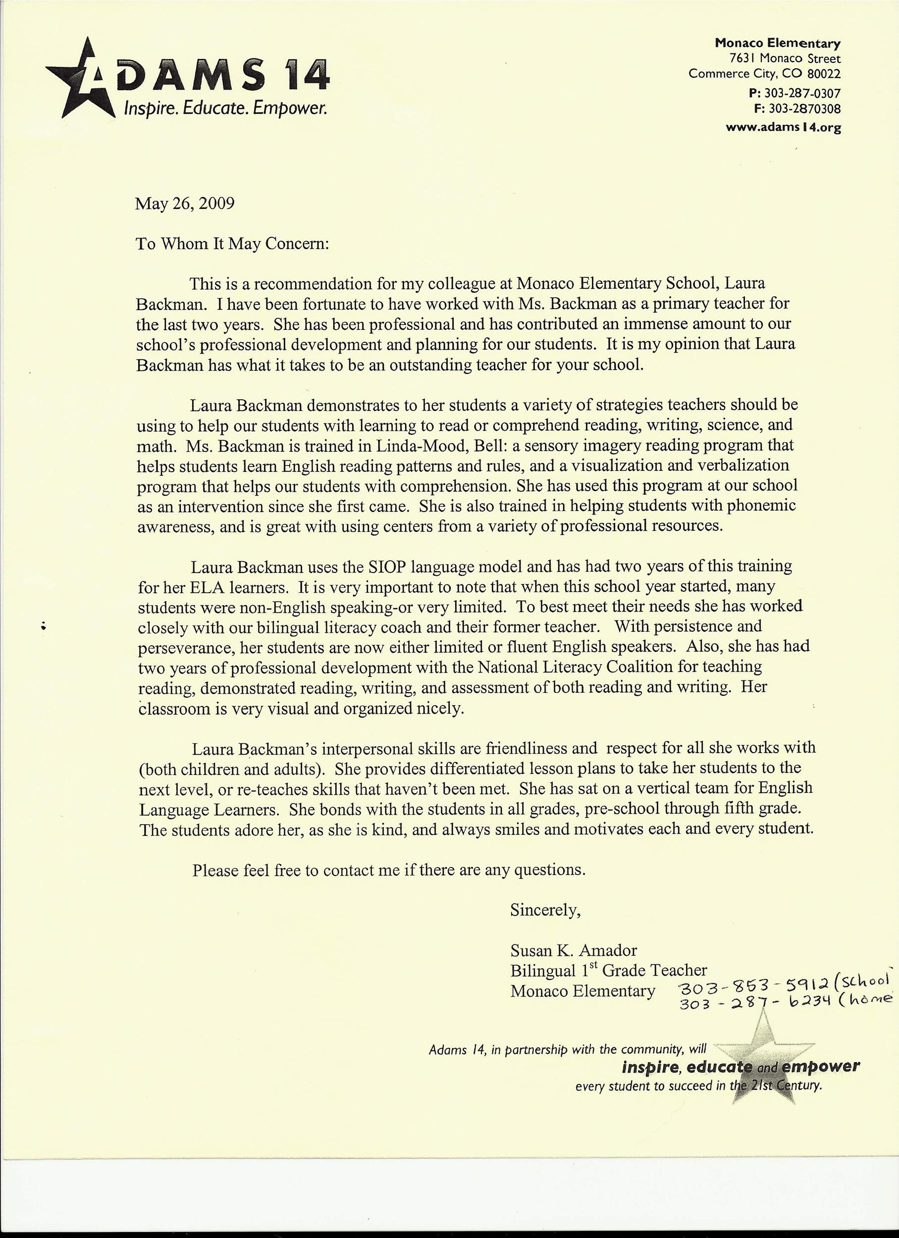 Printable Letter Of Recommendation 14