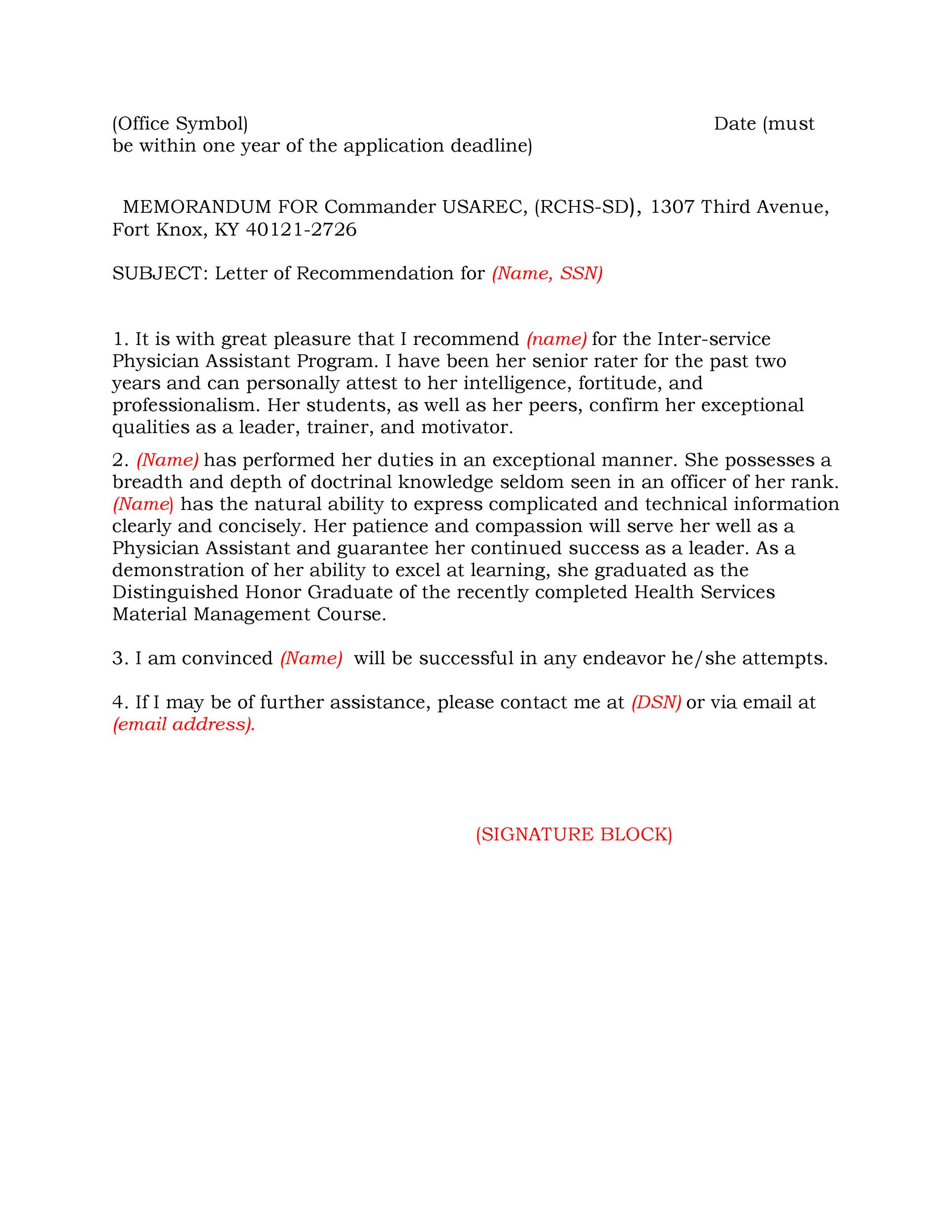 Printable Letter Of Recommendation 15