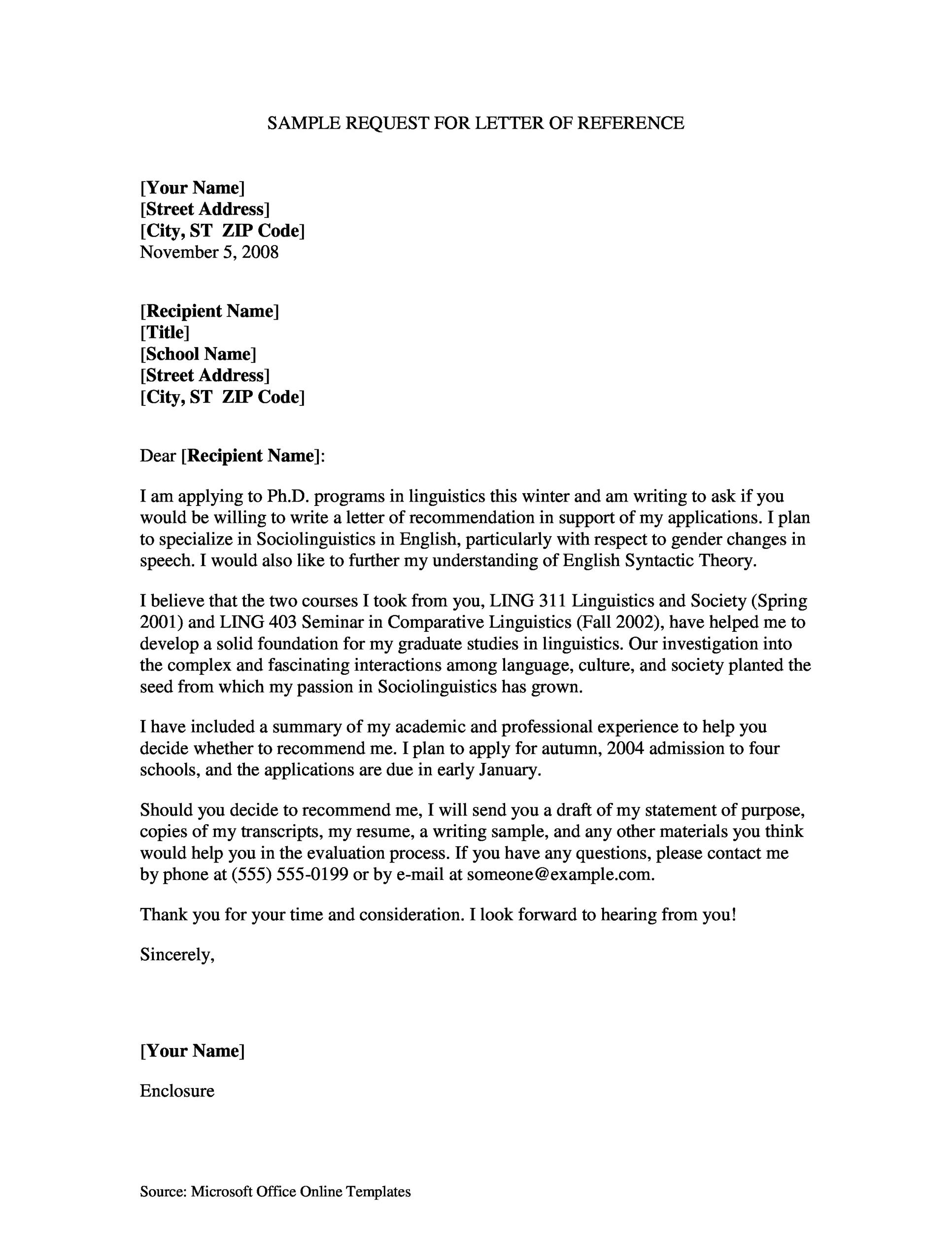 43 FREE Letter of Recommendation Templates Samples – Microsoft Letter of Recommendation Template