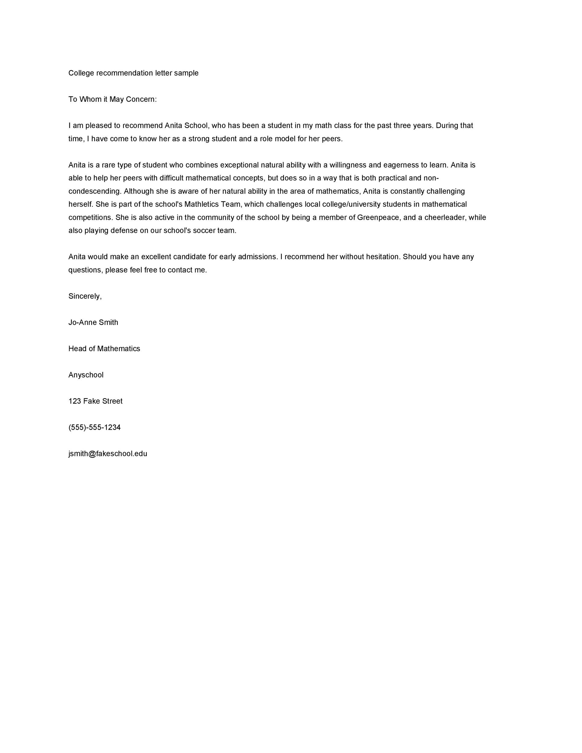 Sample Of Recommendation Letter For University Admission from templatelab.com