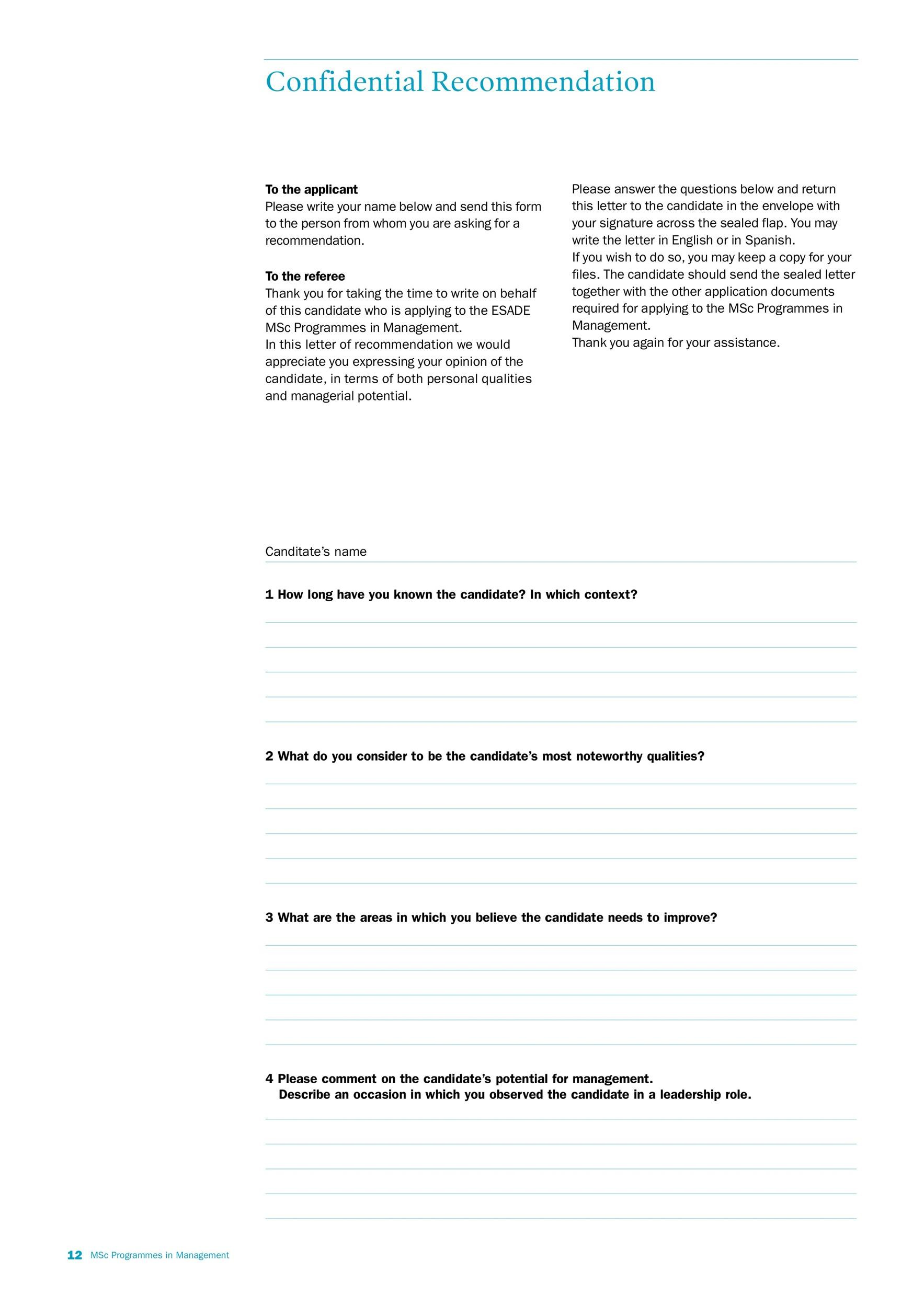 Printable Letter Of Recommendation 22