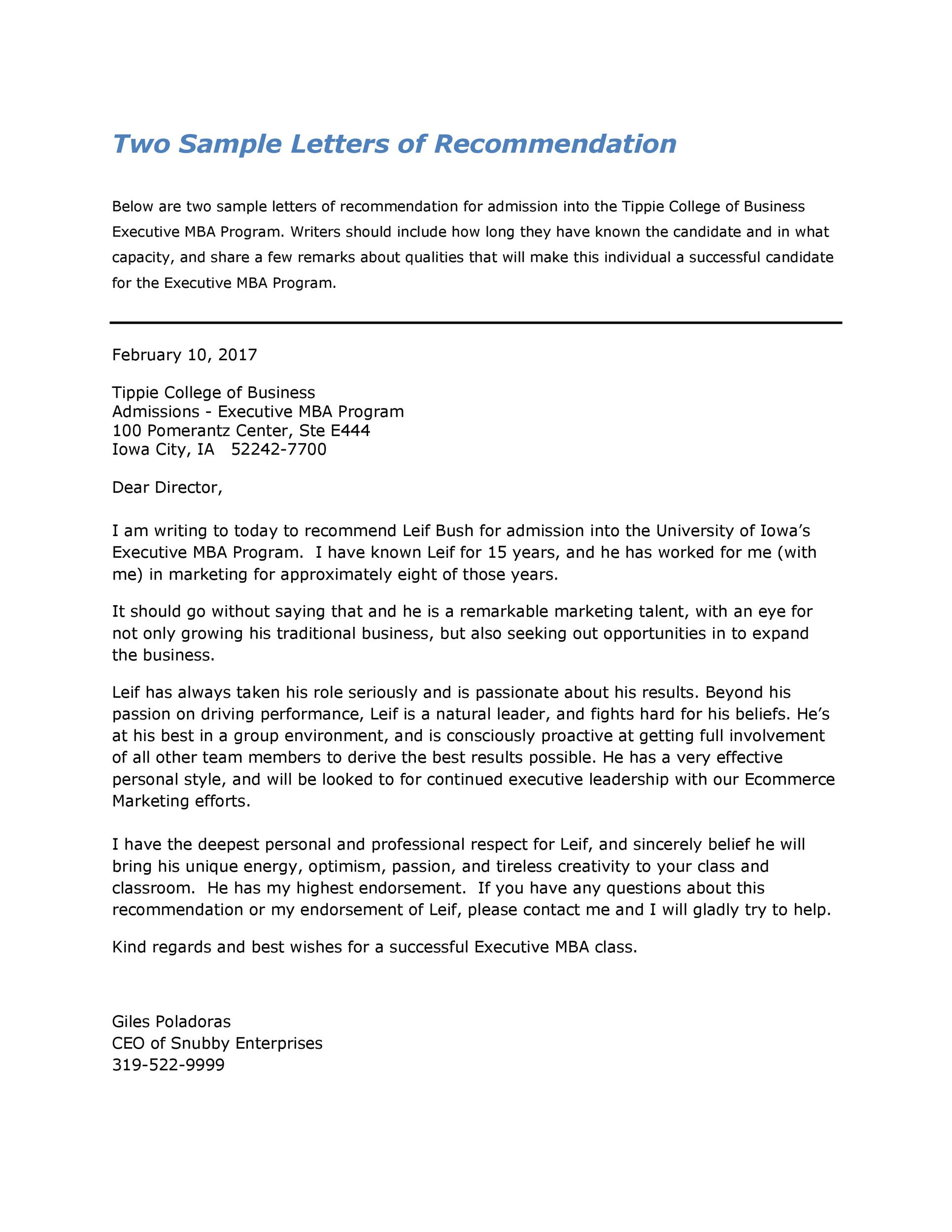 Printable Letter Of Recommendation 26  Examples Of Letters