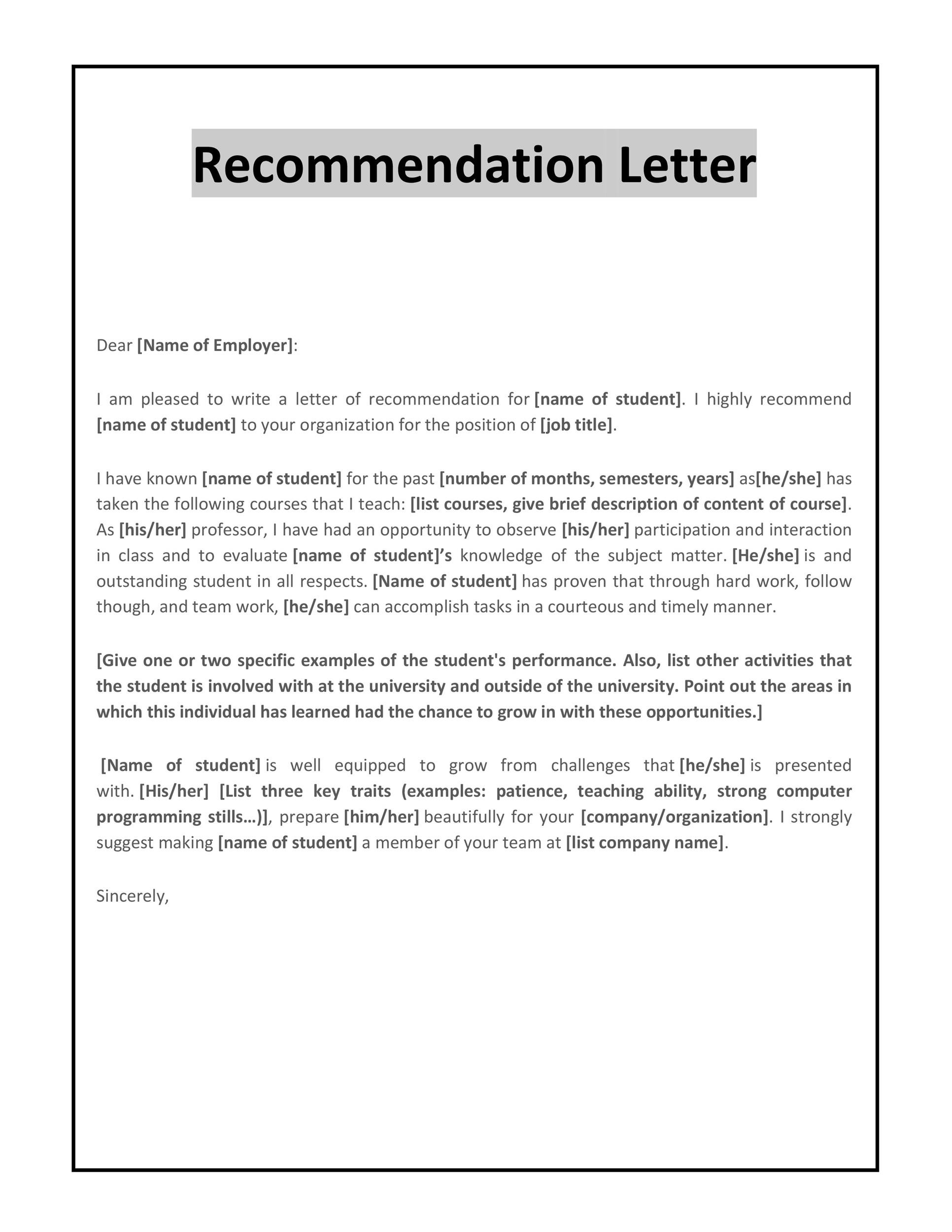 Free Letter Of Recommendation Template | 43 Free Letter Of Recommendation Templates Samples