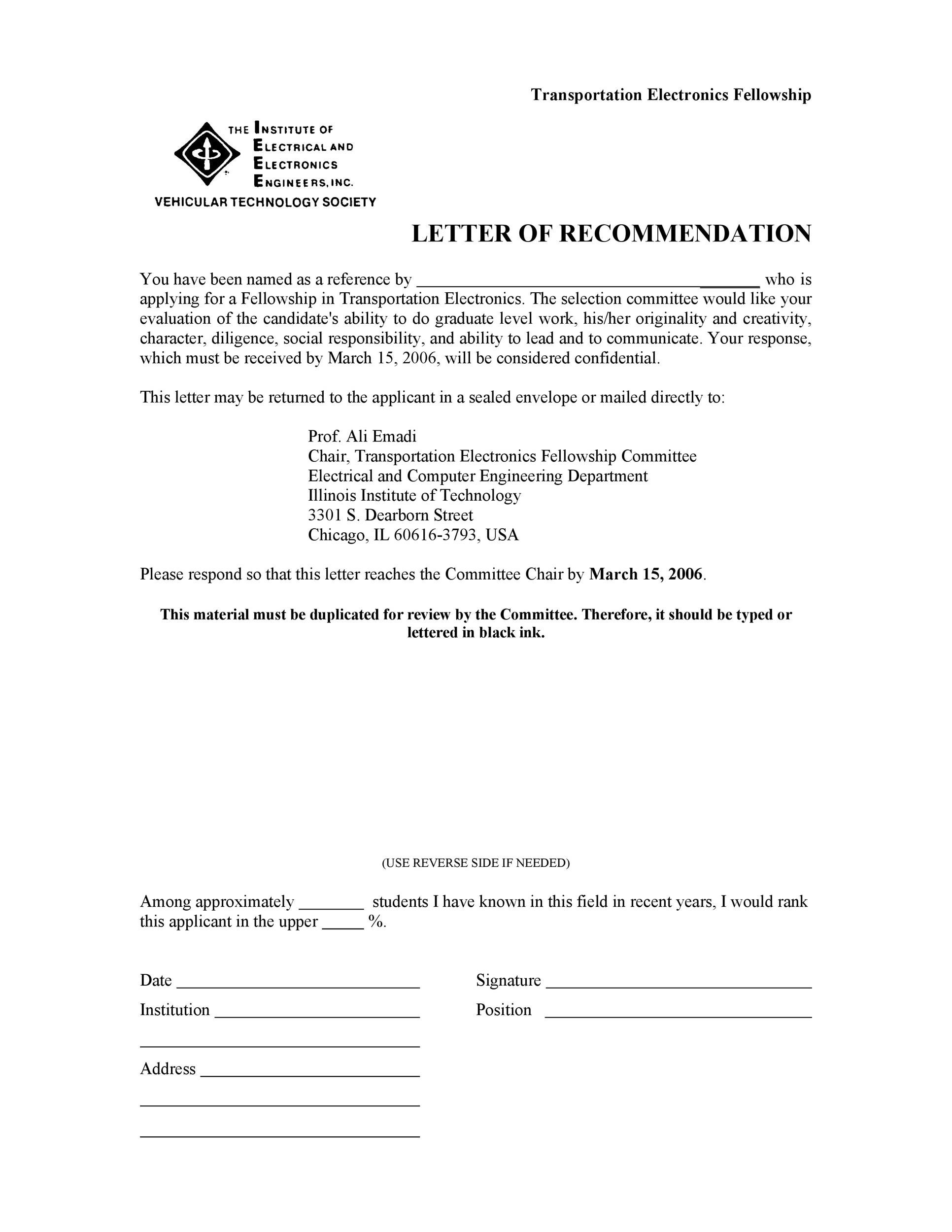 Elegant Printable Letter Of Recommendation 30
