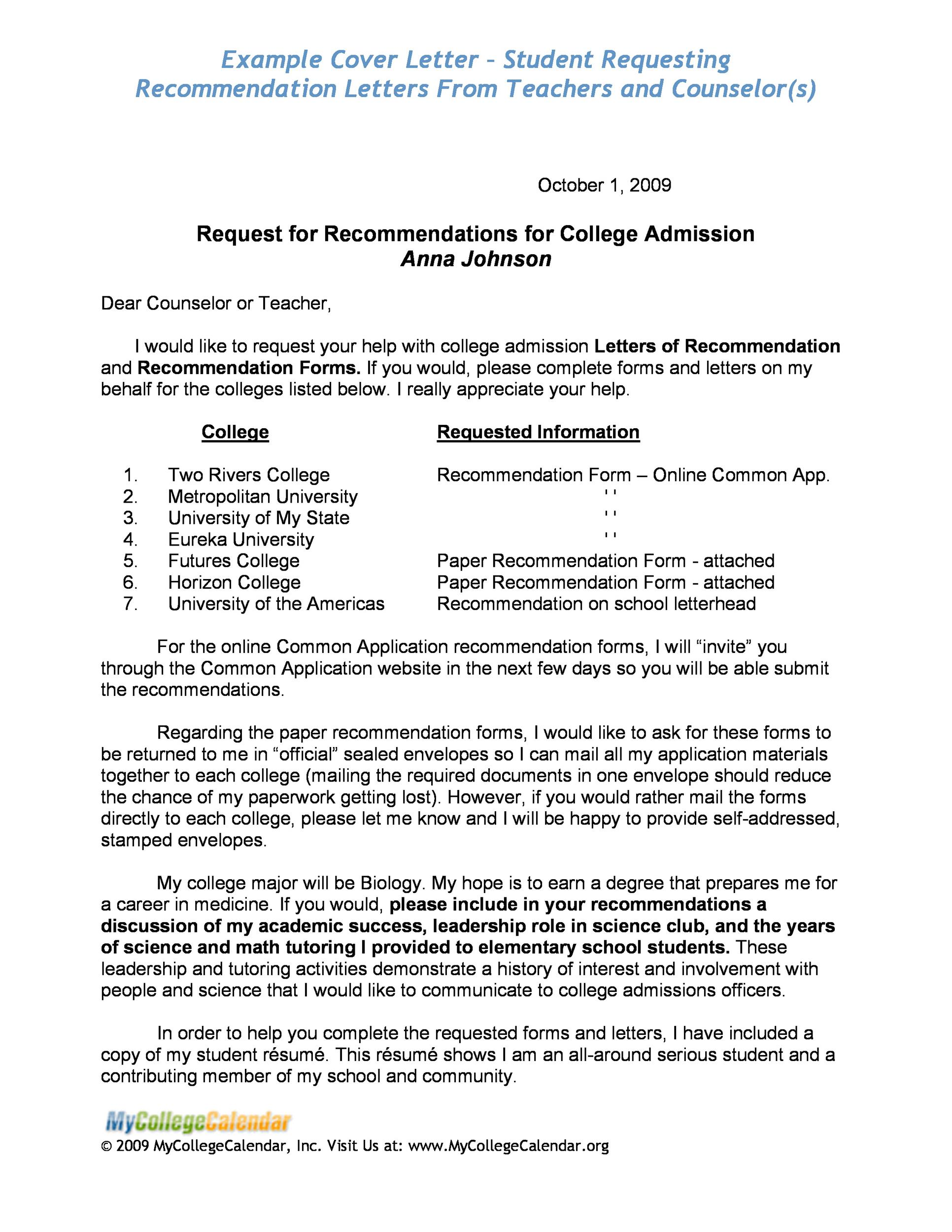 reference letter for college