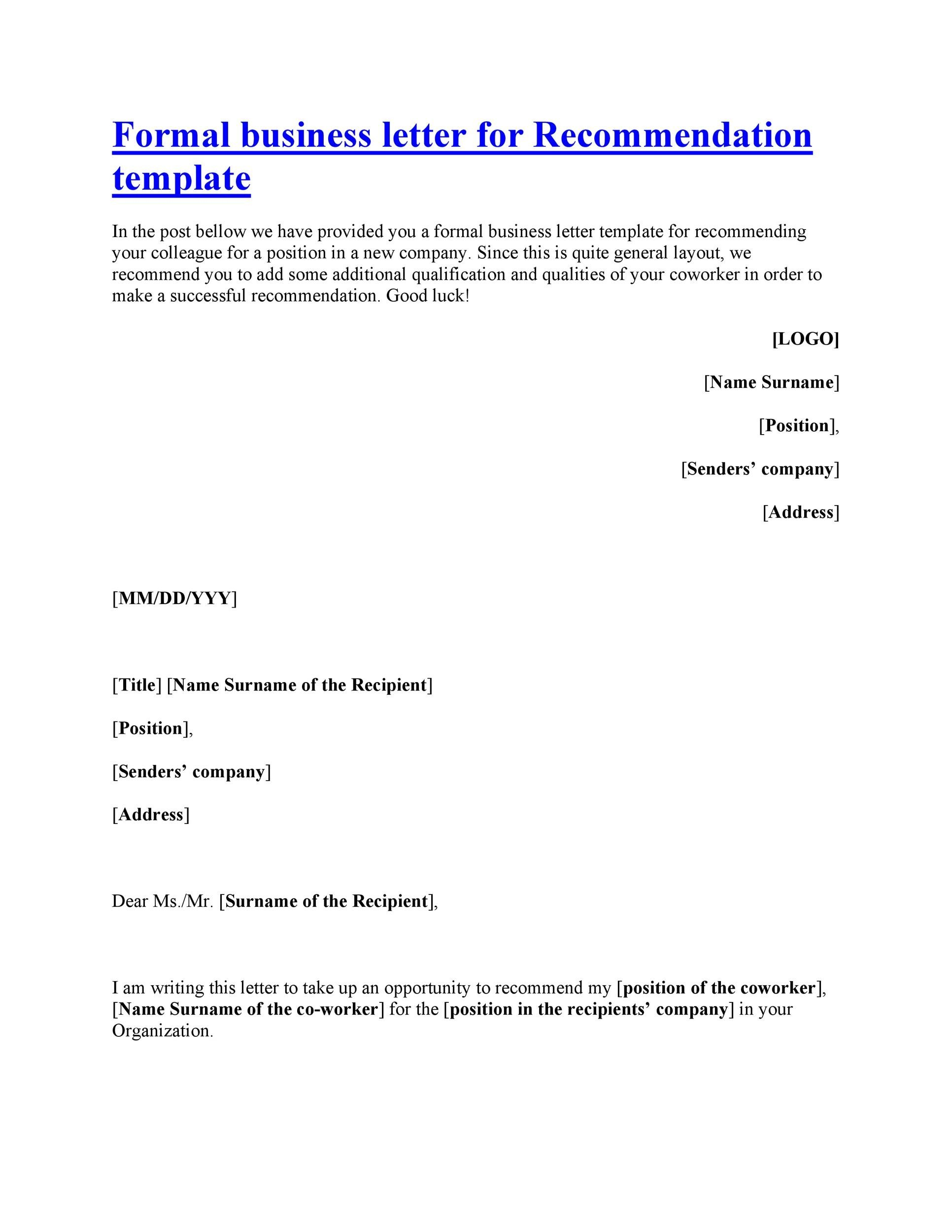 letters of recommendation outline