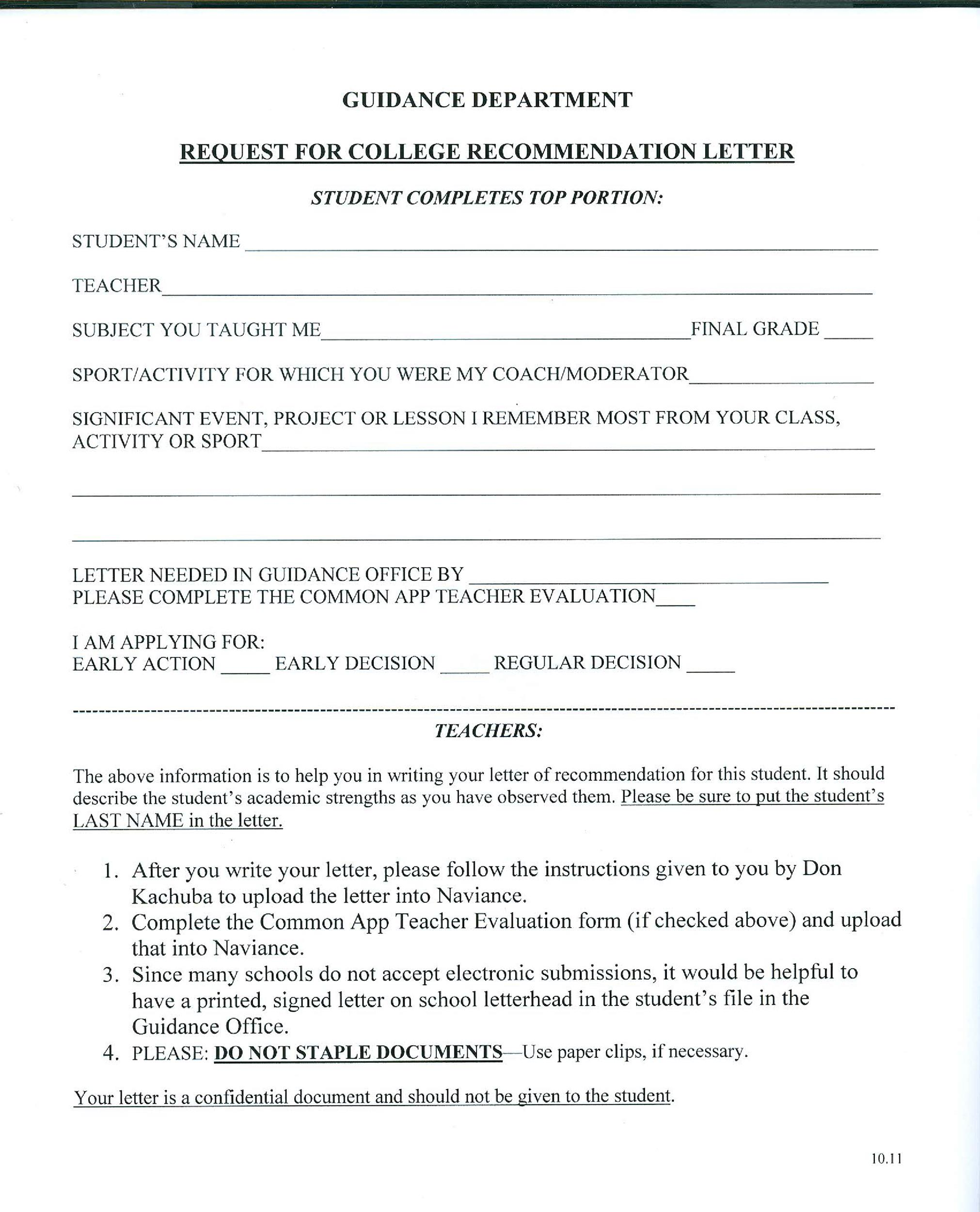 Recommendation Letter For Students Going To College Image