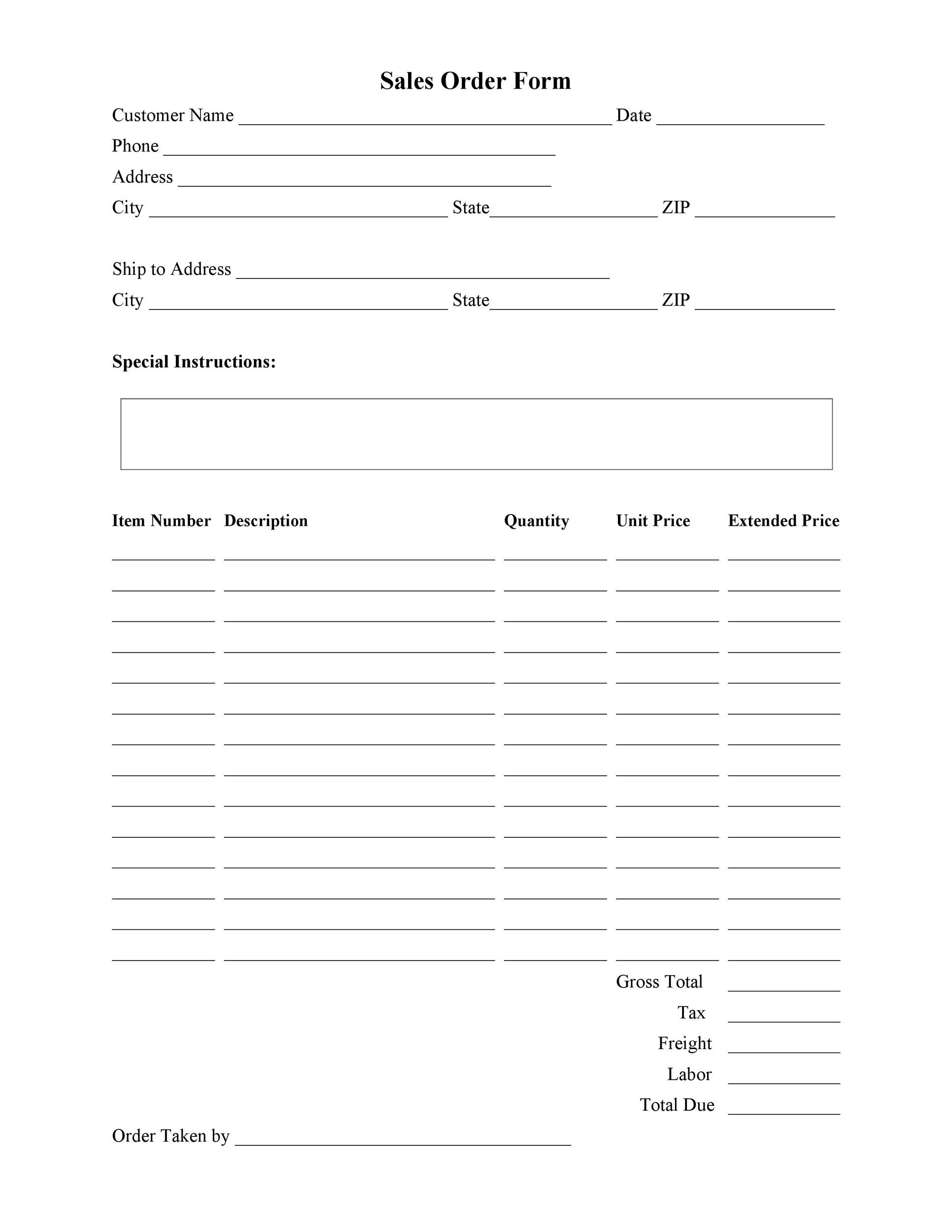 Printable Order Form Template 12
