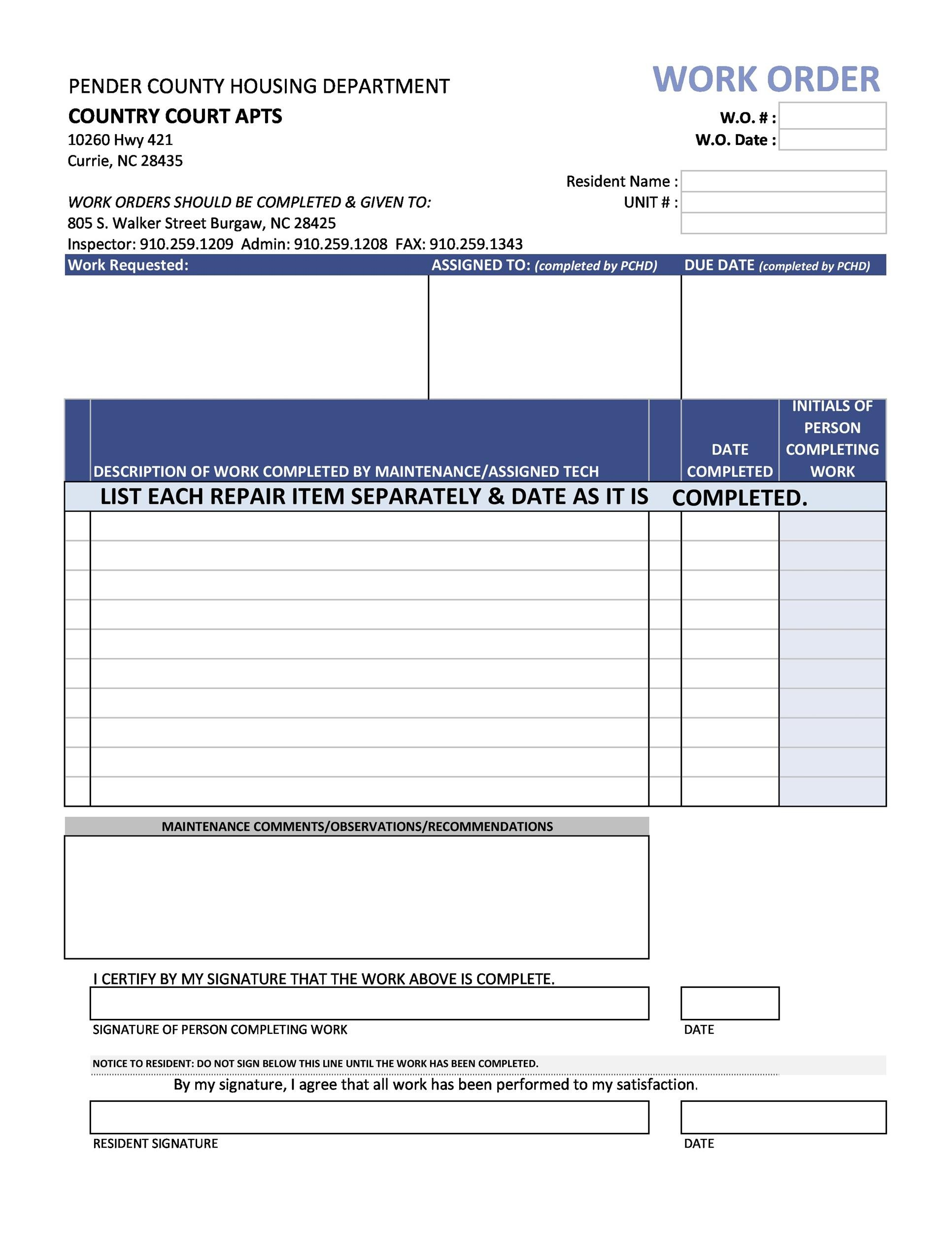 40 Order Form Templates Work Order Change Order More