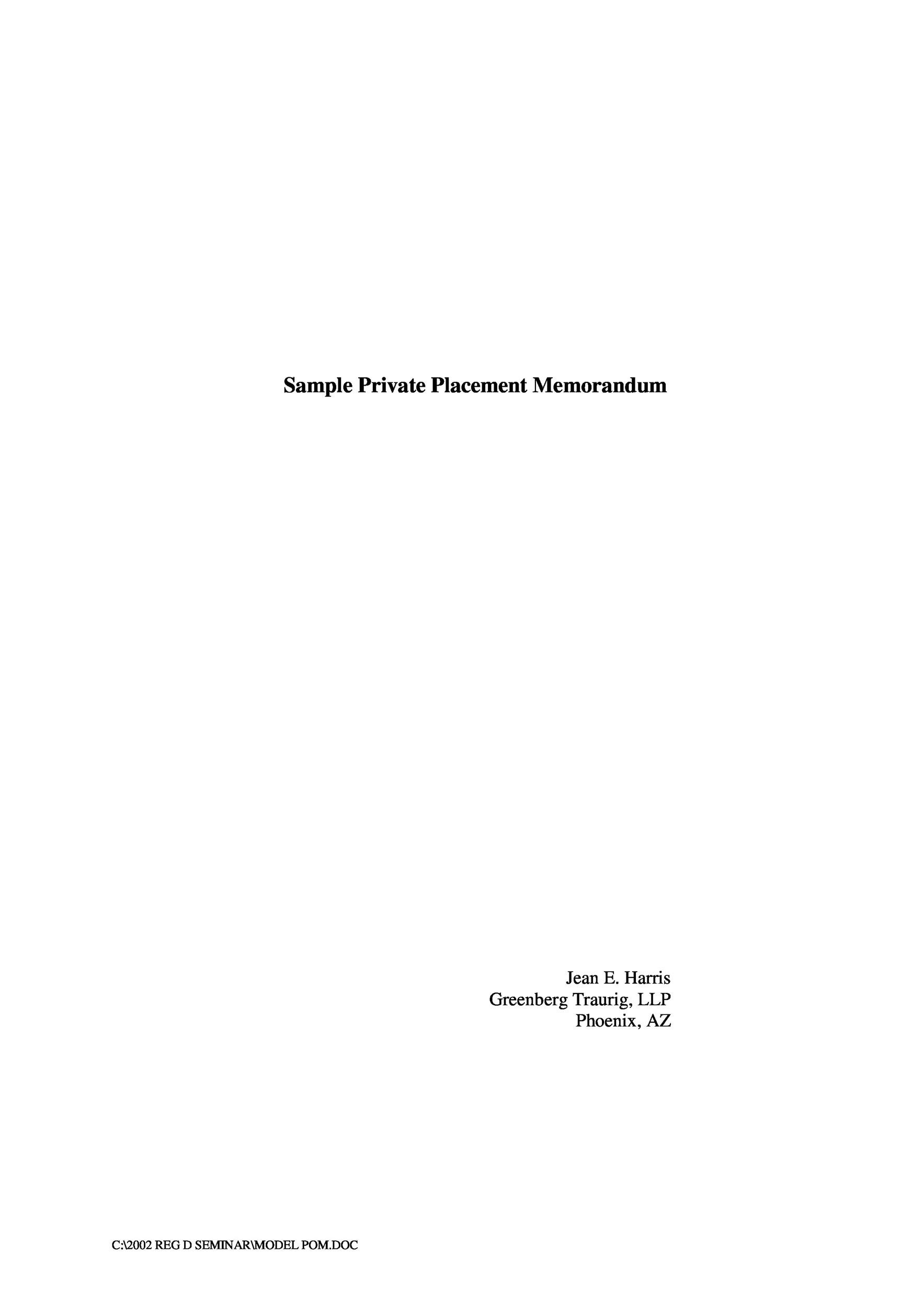 private placement memorandum template 01