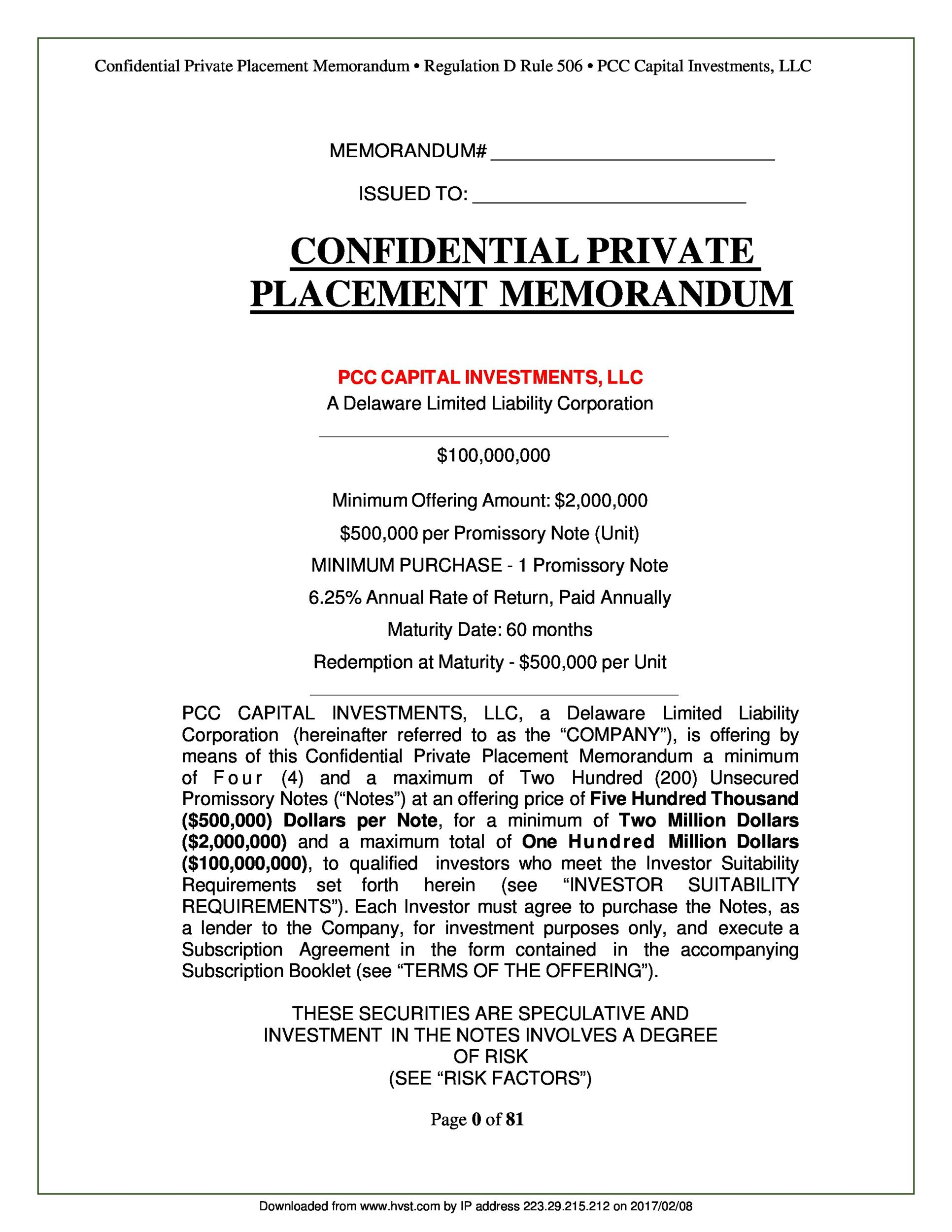 Free private placement memorandum template 09