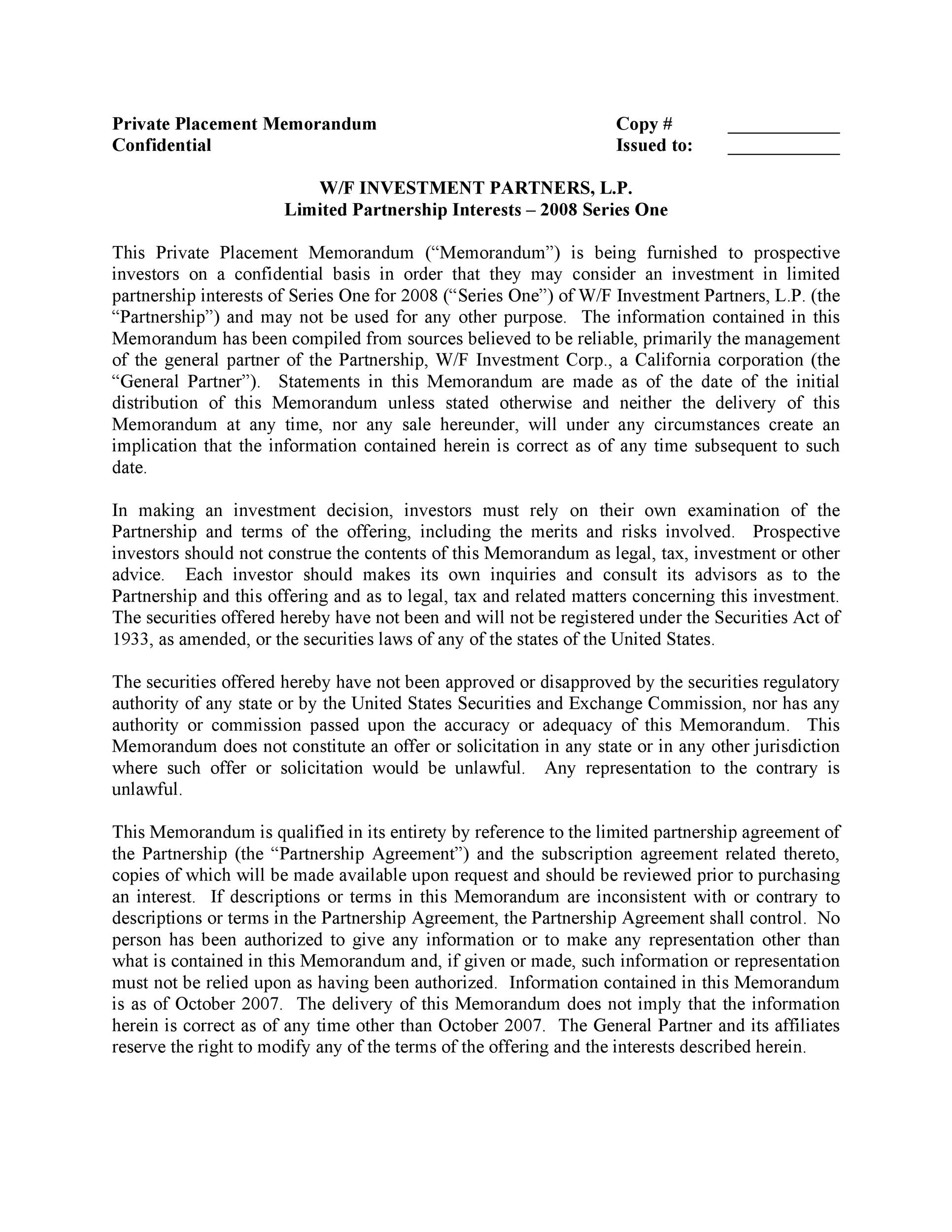 Free private placement memorandum template 10