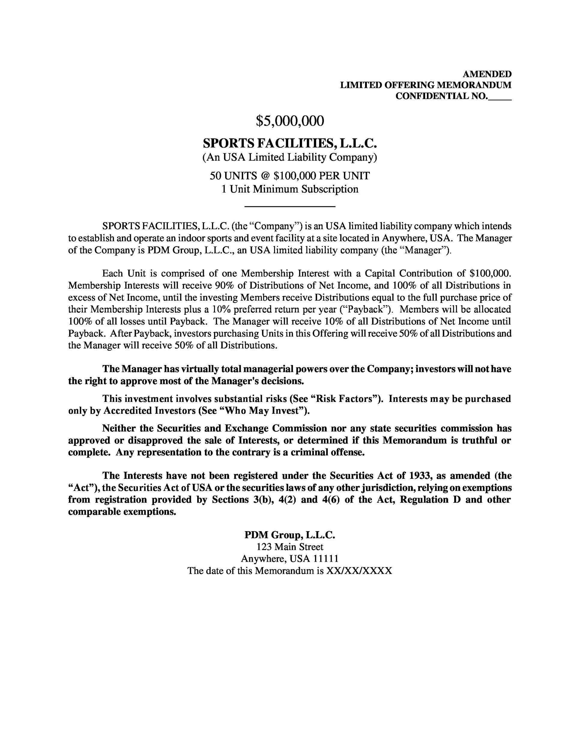 Free private placement memorandum template 16