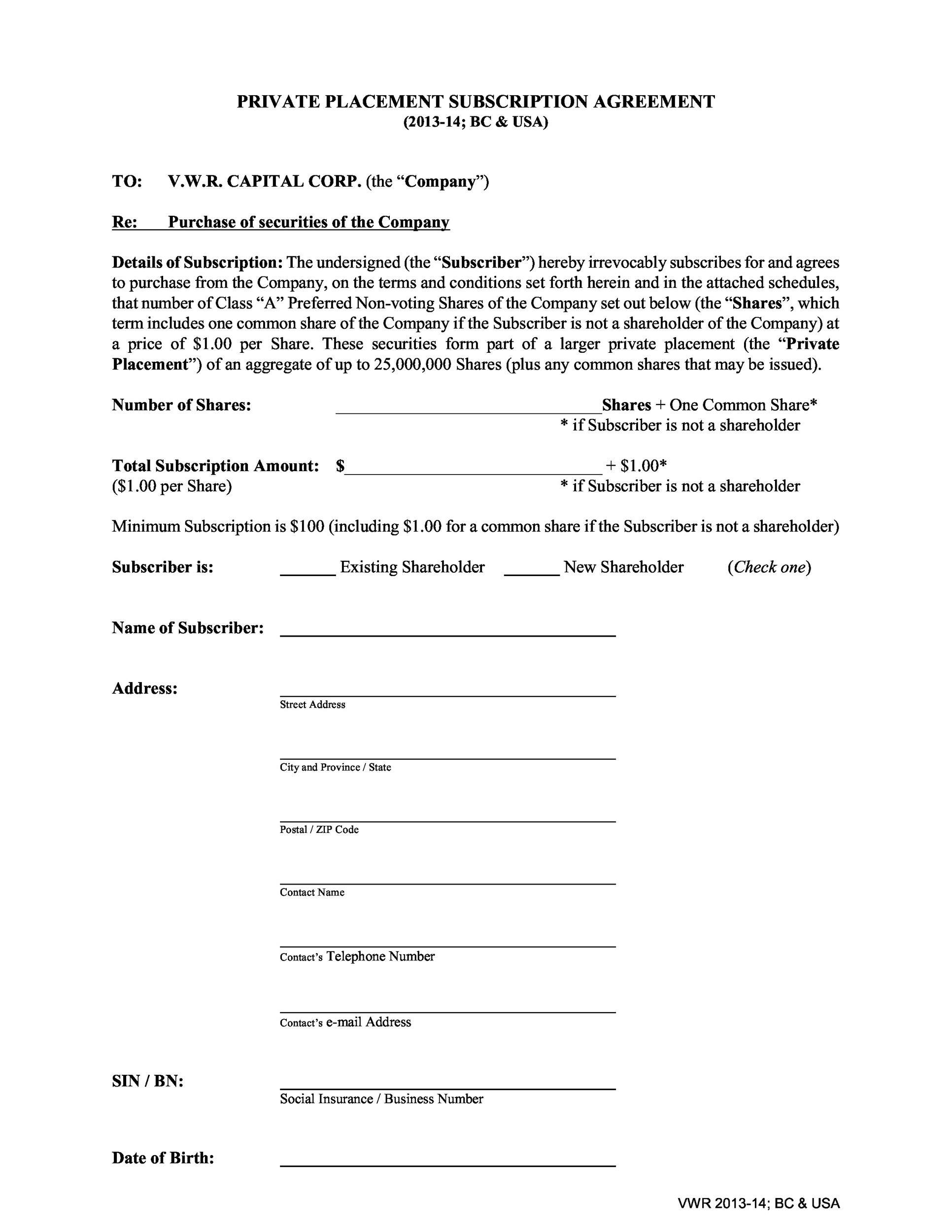 Free private placement memorandum template 18